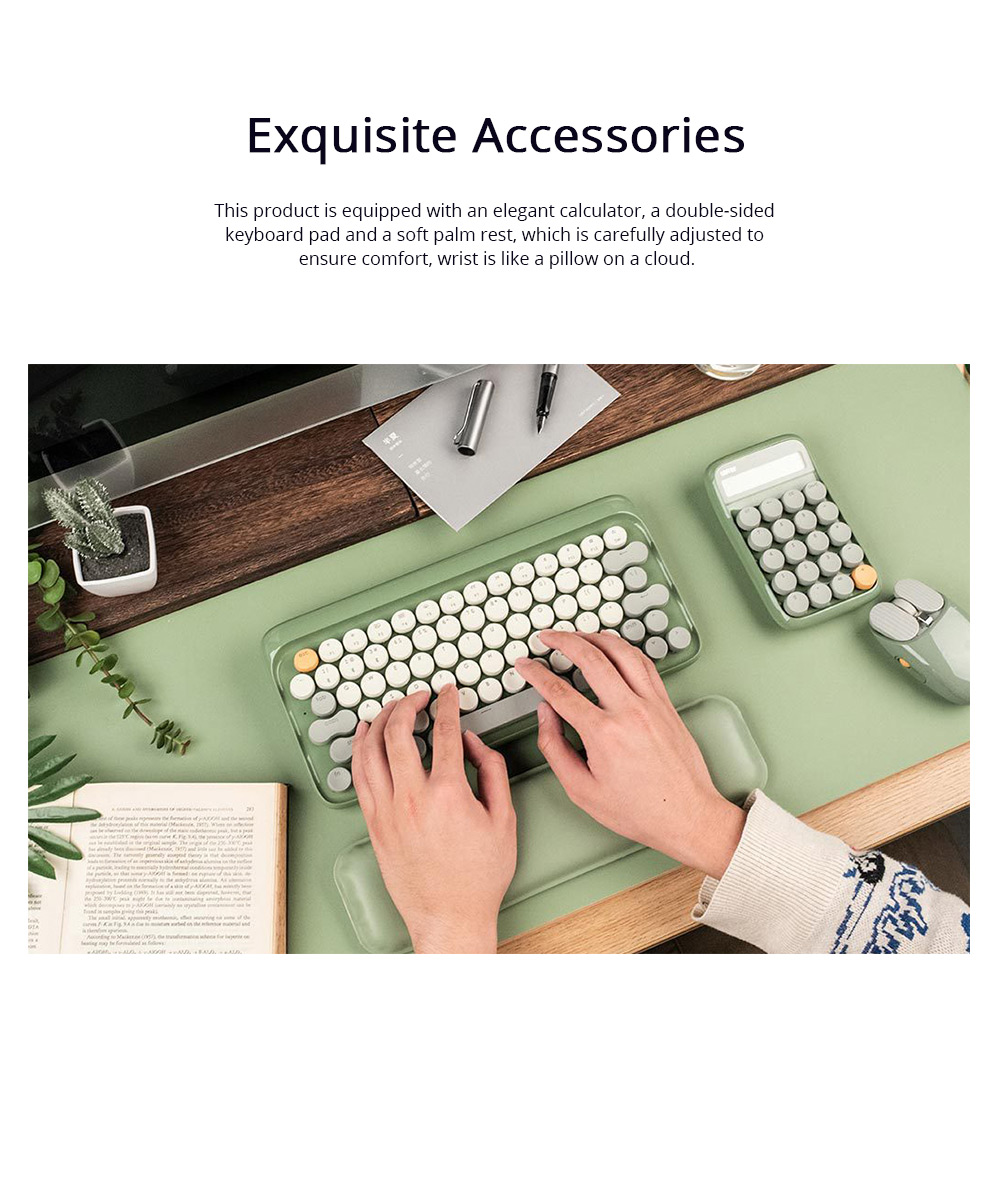 LOFREE 76 Keys Mouse Pad Set Mechanical Keyboard and Mouse with Ergonomic Wrist Rest Exquisite Calculator 4000mAh Lithium Battery 3