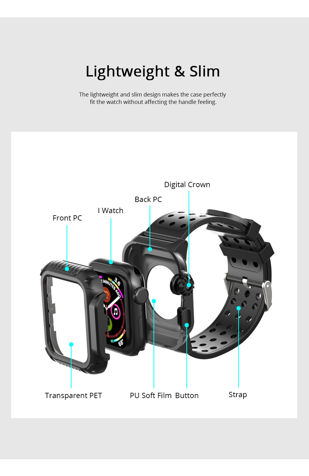 For iWatch Replacement Watch Band with Protective Case Shock Resistant Rugged Case with Built-in Screen TPU Protector Strap Bands for Apple Watch Series 4 4