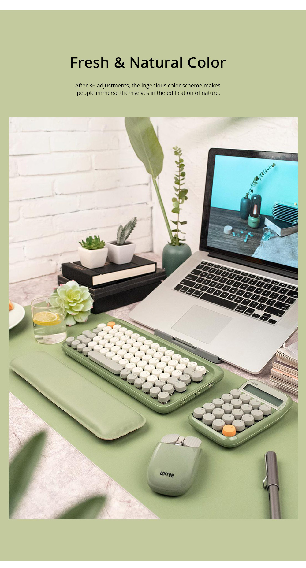 LOFREE 76 Keys Mouse Pad Set Mechanical Keyboard and Mouse with Ergonomic Wrist Rest Exquisite Calculator 4000mAh Lithium Battery 2