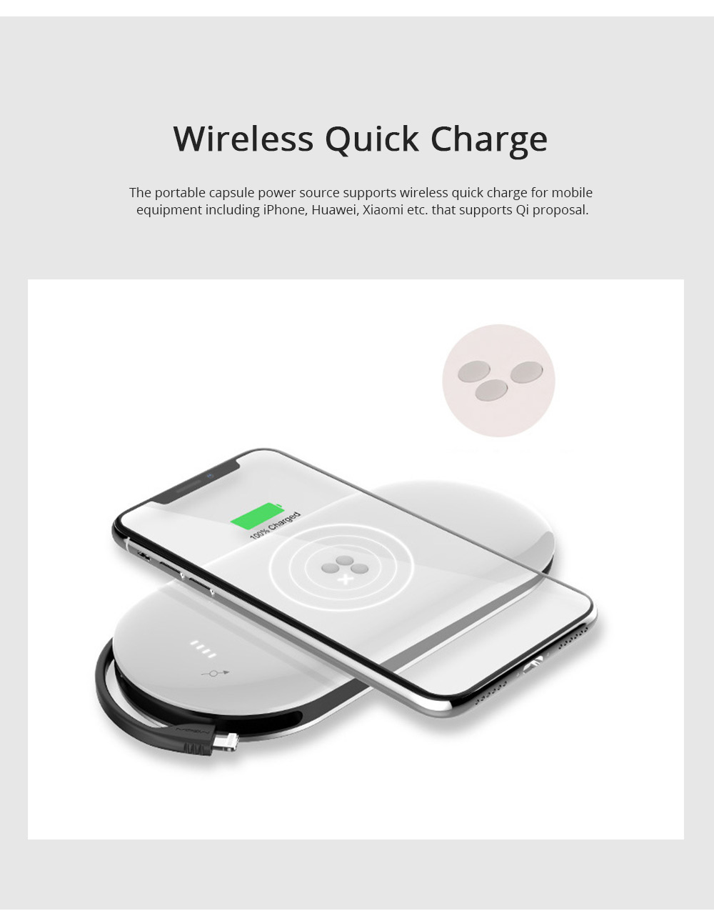 Portable Capsule Wireless Power Source for iPhone iPad Ultrathin Wireless Power Bank Easy Carry Quick Charge Large Capacity 10000mAh Power Source 2
