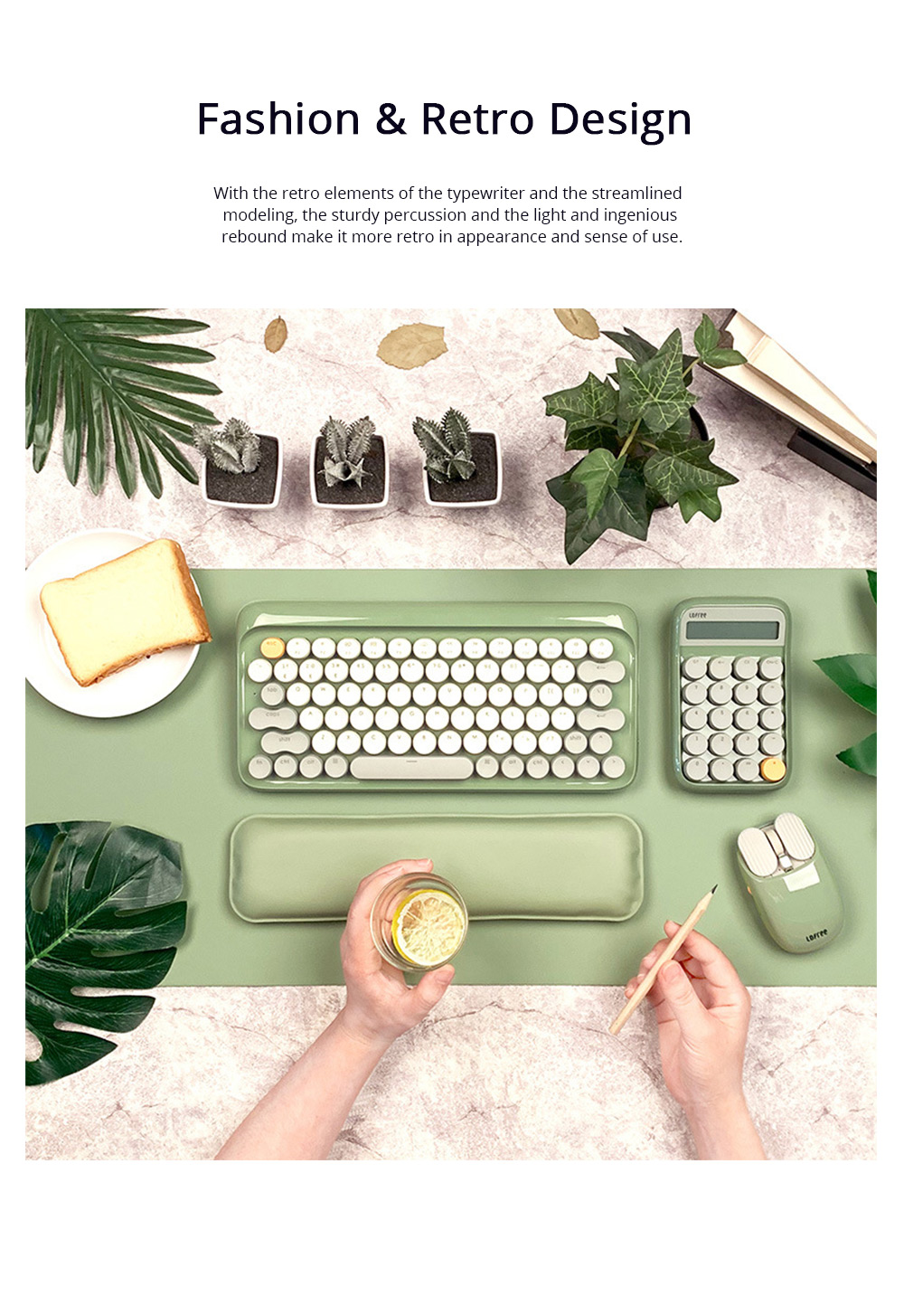 LOFREE 76 Keys Mouse Pad Set Mechanical Keyboard and Mouse with Ergonomic Wrist Rest Exquisite Calculator 4000mAh Lithium Battery 1