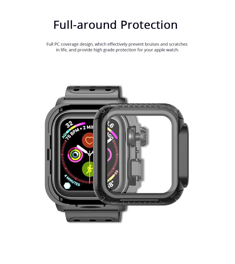 For iWatch Replacement Watch Band with Protective Case Shock Resistant Rugged Case with Built-in Screen TPU Protector Strap Bands for Apple Watch Series 4 1