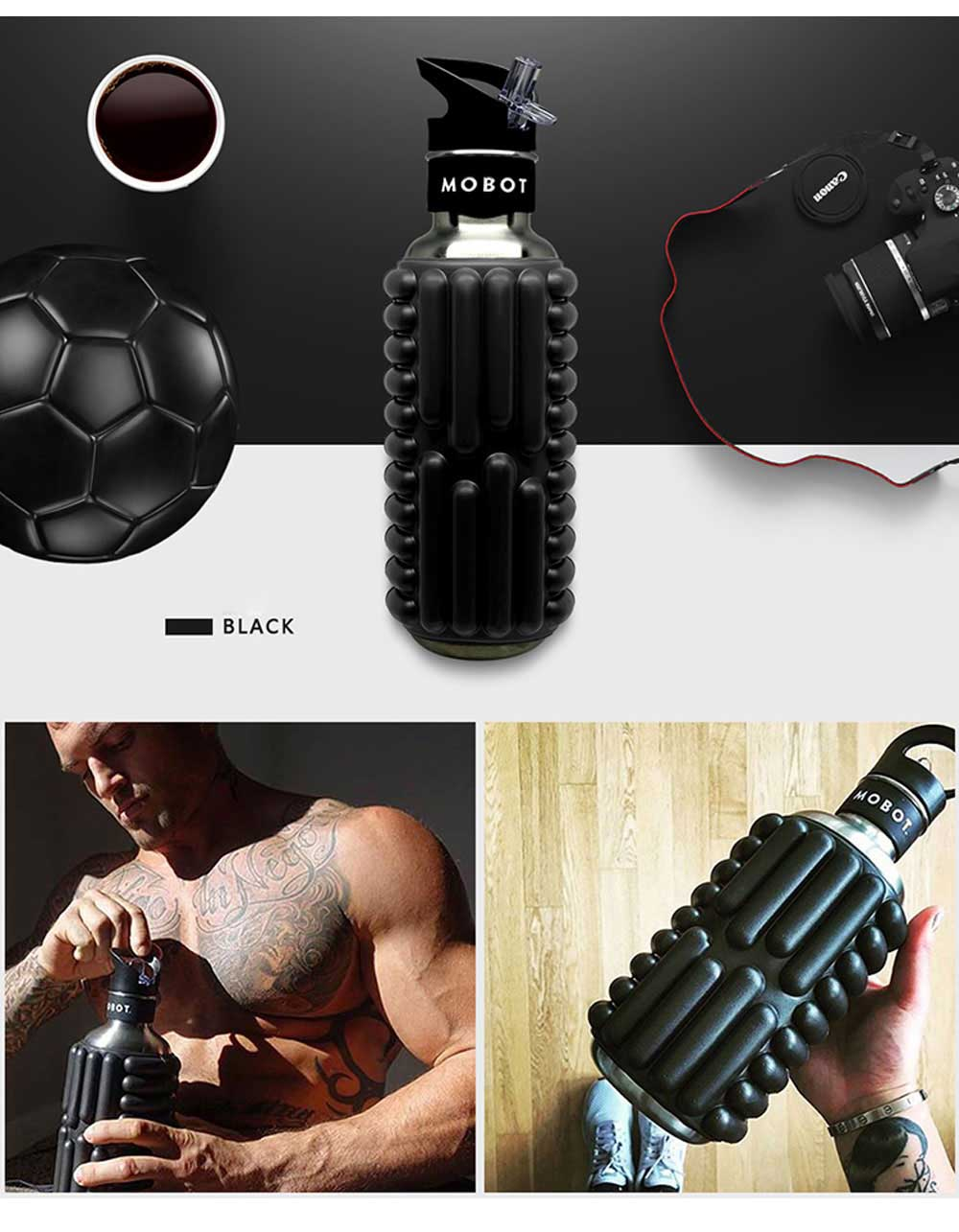 Portable Fitness Roller Massage Cup Stainless Steel Sports Straw Kettle Creative Anti Falling Water Cup 7