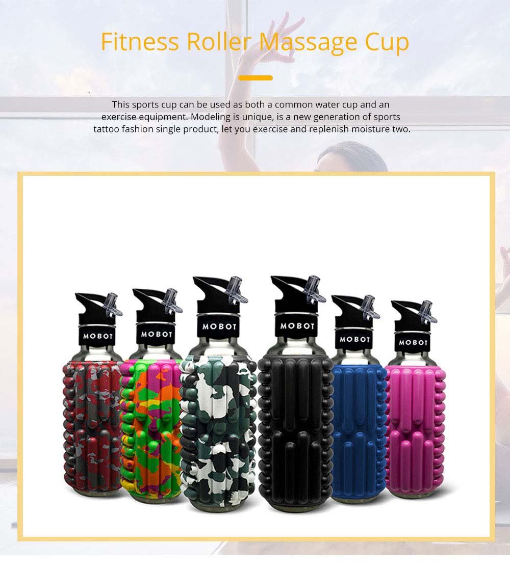 Portable Fitness Roller Massage Cup Stainless Steel Sports Straw Kettle Creative Anti Falling Water Cup 0