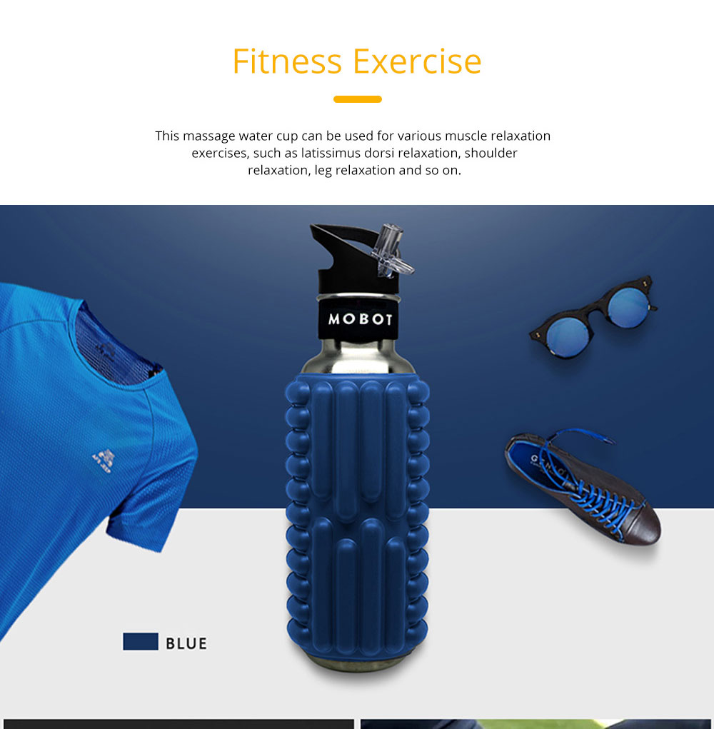 Portable Fitness Roller Massage Cup Stainless Steel Sports Straw Kettle Creative Anti Falling Water Cup 5