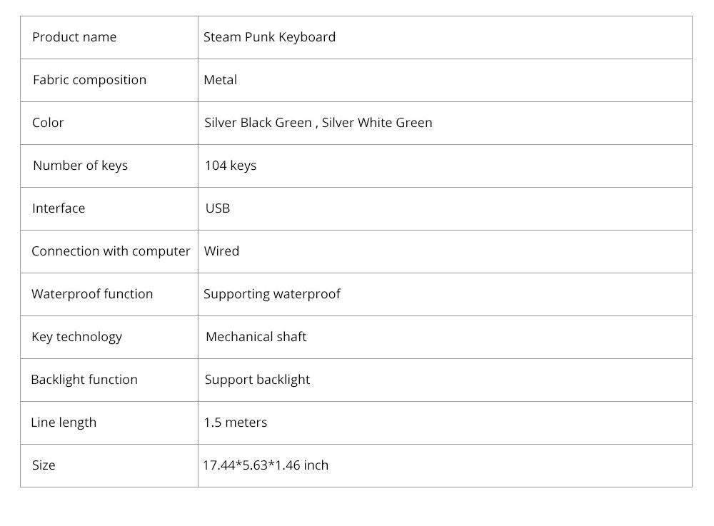 Steam Punk Keyboard Real Mechanical Keyboard Internet Bar Game Keyboard 11