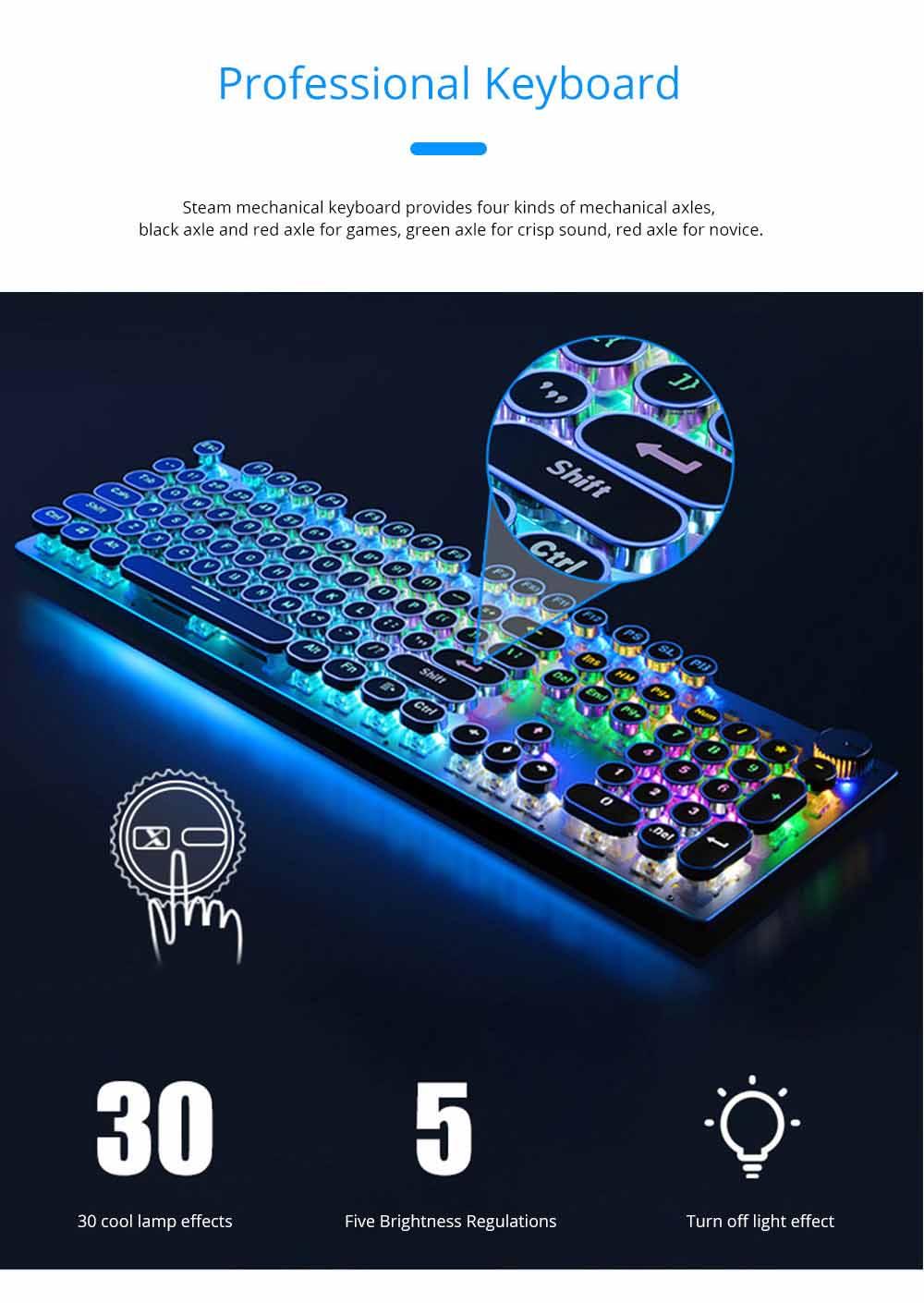 Steam Punk Keyboard Real Mechanical Keyboard Internet Bar Game Keyboard 4