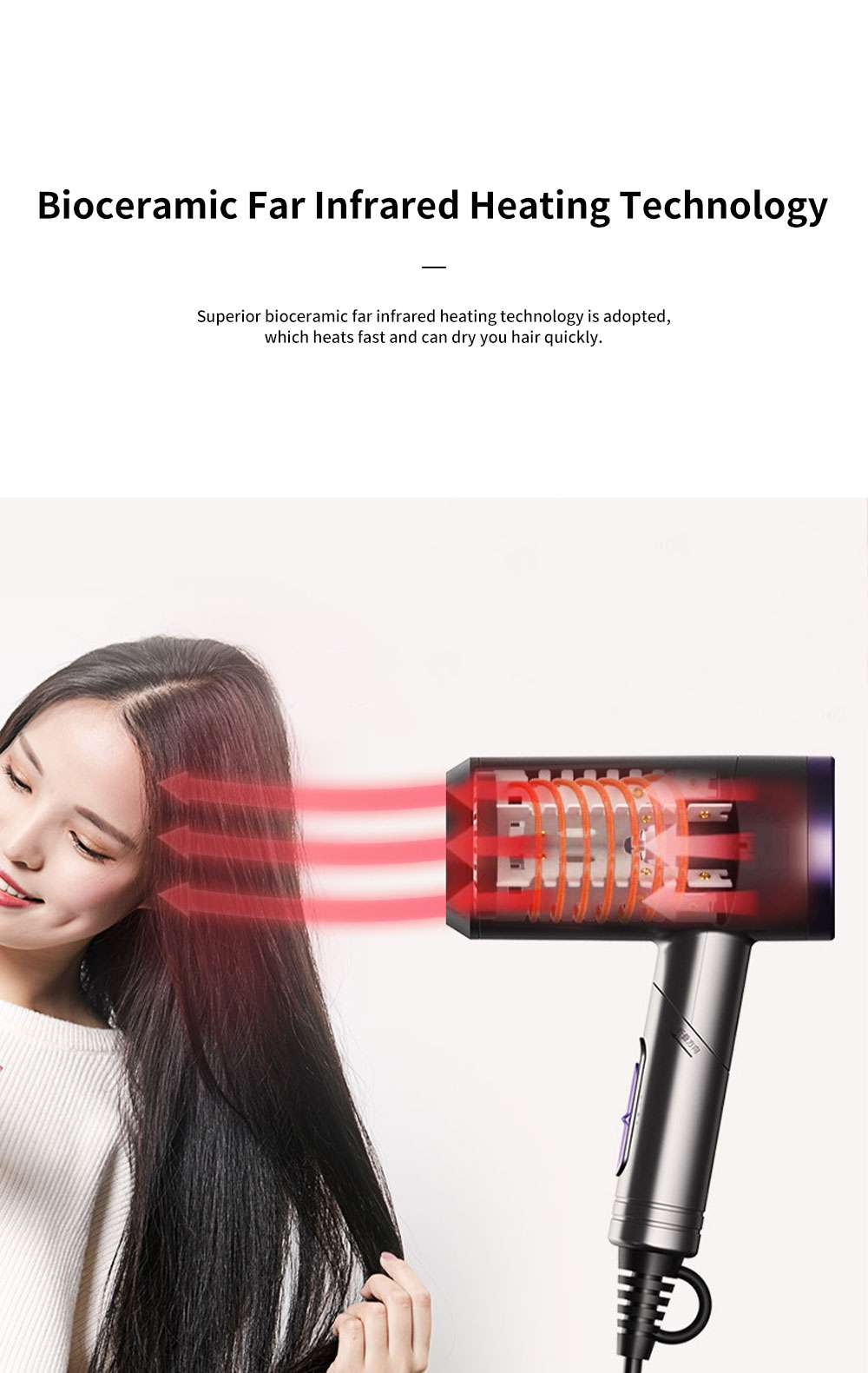 Minimalist Foldable Household Electric Har Dryer Low-Radiation Negative Ion Protection Bioceramic Far Infrared Heating Hair Dryer 1