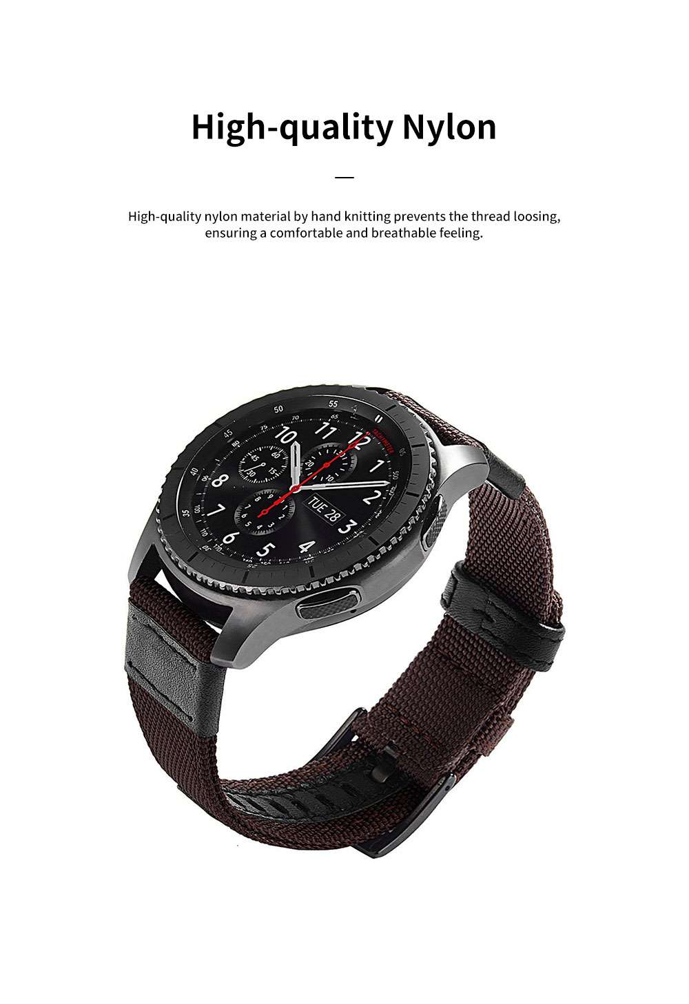 Gear S3 Nylon Bands 22 mm Woven Nylon Replacement Strap Sport Wristband Bracelet with Steel Metal Buckle for Samsung Gear S3 Classic, Gear S3 Frontier, Moto 360 2nd Gen 46mm 1