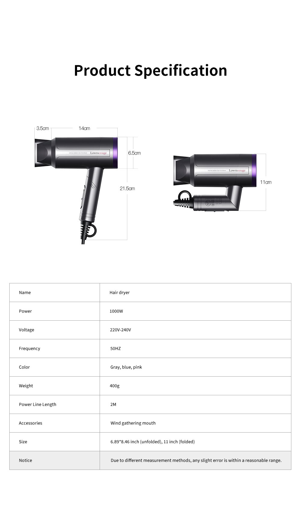 Minimalist Foldable Household Electric Har Dryer Low-Radiation Negative Ion Protection Bioceramic Far Infrared Heating Hair Dryer 7