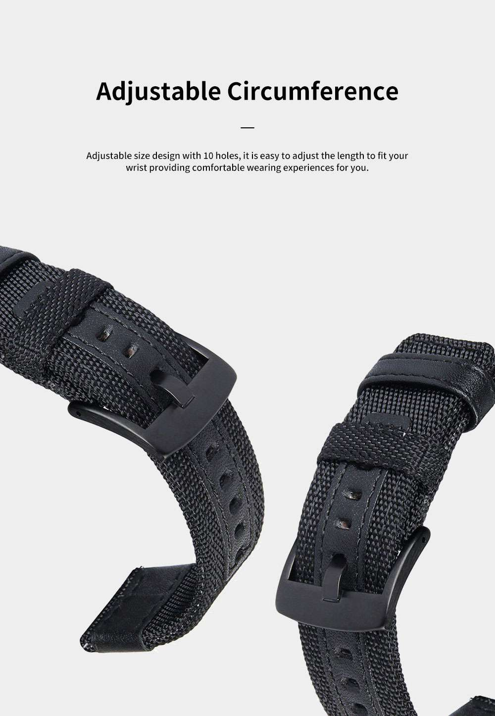 Gear S3 Nylon Bands 22 mm Woven Nylon Replacement Strap Sport Wristband Bracelet with Steel Metal Buckle for Samsung Gear S3 Classic, Gear S3 Frontier, Moto 360 2nd Gen 46mm 4