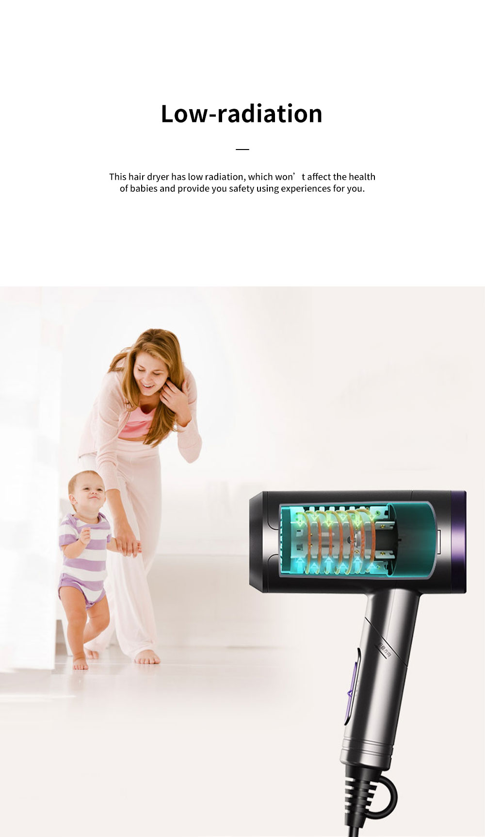 Minimalist Foldable Household Electric Har Dryer Low-Radiation Negative Ion Protection Bioceramic Far Infrared Heating Hair Dryer 2