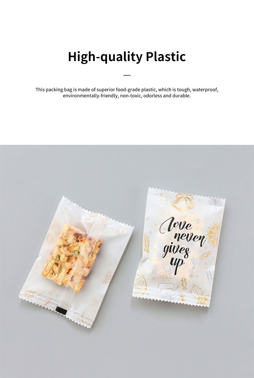 Exquisite Golden Figure English Blessing Letters Nougat Biscuit Cookie Sweet Dessert Packing Bag 100PCS Suit Baking Accessories 1