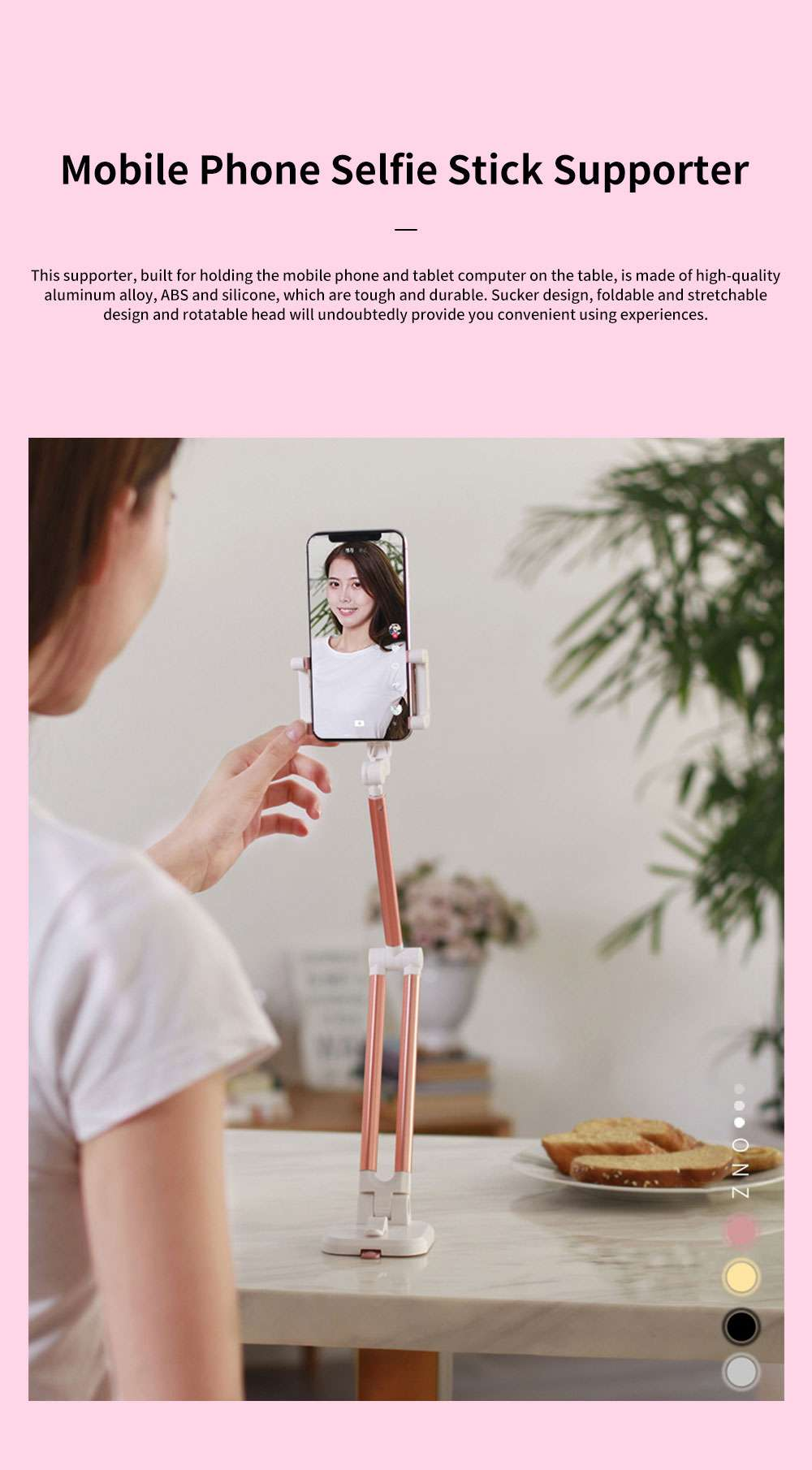 Multifunctional Stretchable Selfie Stick with Sucker Multi-angle Rotatable Foldable Mobile Phone Supporter Holder 0