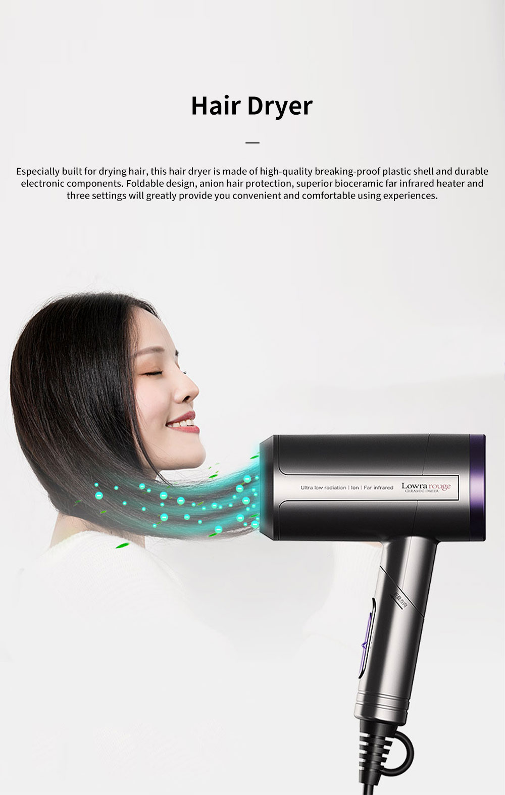 Minimalist Foldable Household Electric Har Dryer Low-Radiation Negative Ion Protection Bioceramic Far Infrared Heating Hair Dryer 0