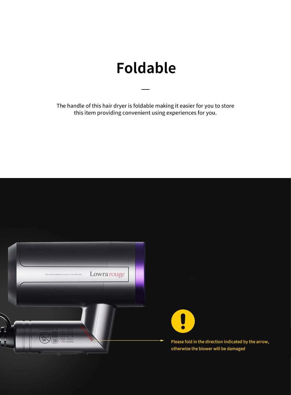 Minimalist Foldable Household Electric Har Dryer Low-Radiation Negative Ion Protection Bioceramic Far Infrared Heating Hair Dryer 4