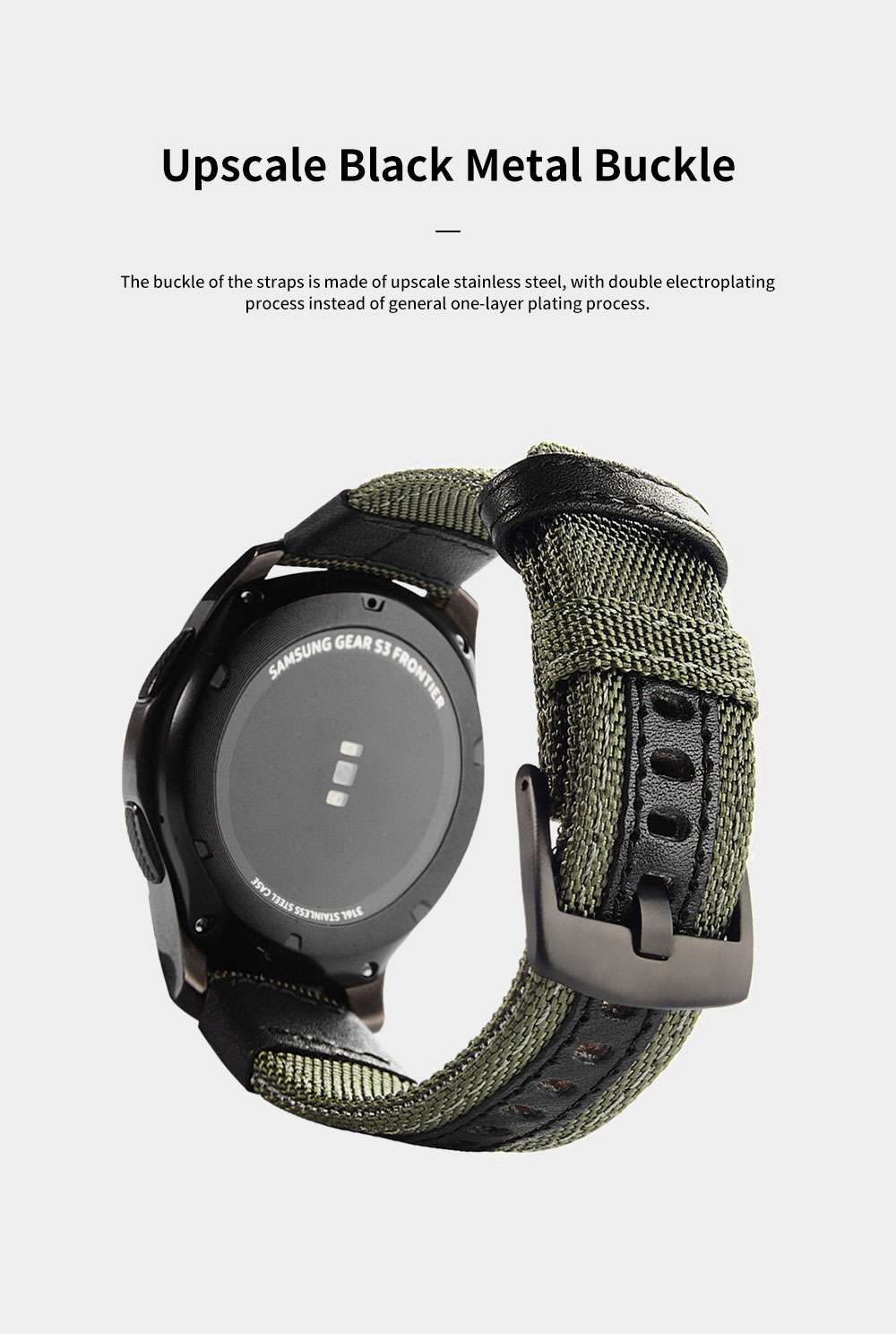 Gear S3 Nylon Bands 22 mm Woven Nylon Replacement Strap Sport Wristband Bracelet with Steel Metal Buckle for Samsung Gear S3 Classic, Gear S3 Frontier, Moto 360 2nd Gen 46mm 2