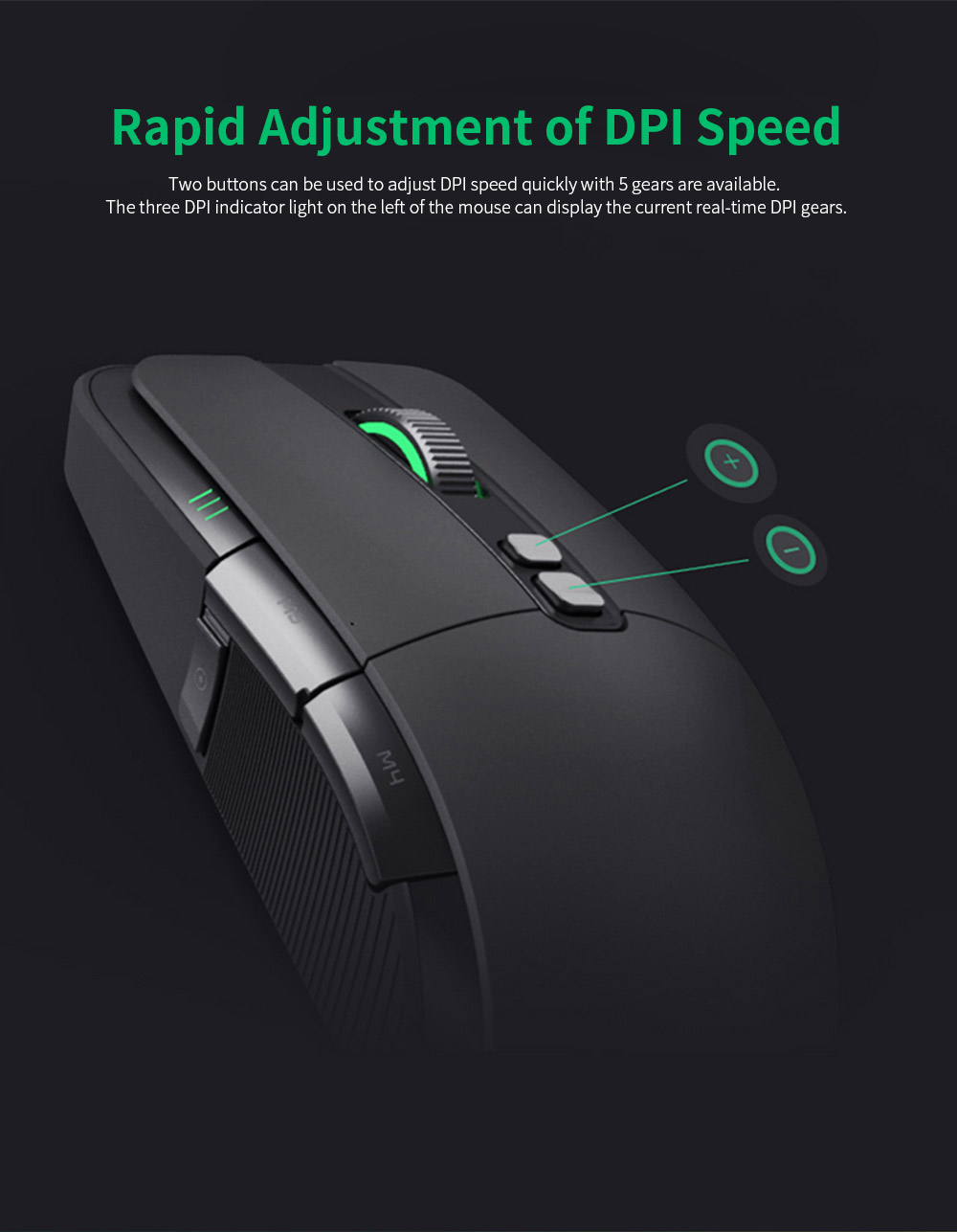 Xiaomi Gaming Mouse 7200DPI Wired Wireless Dual Mode Computer Mouse with Ergonomics Design and RGB Colorful Lights 3
