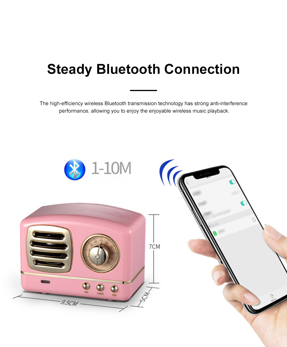 Creative Vintage Radio Model Portable Bluetooth Loudspeaker Box Base Large Battery Capacity Sound Box Stereo 1