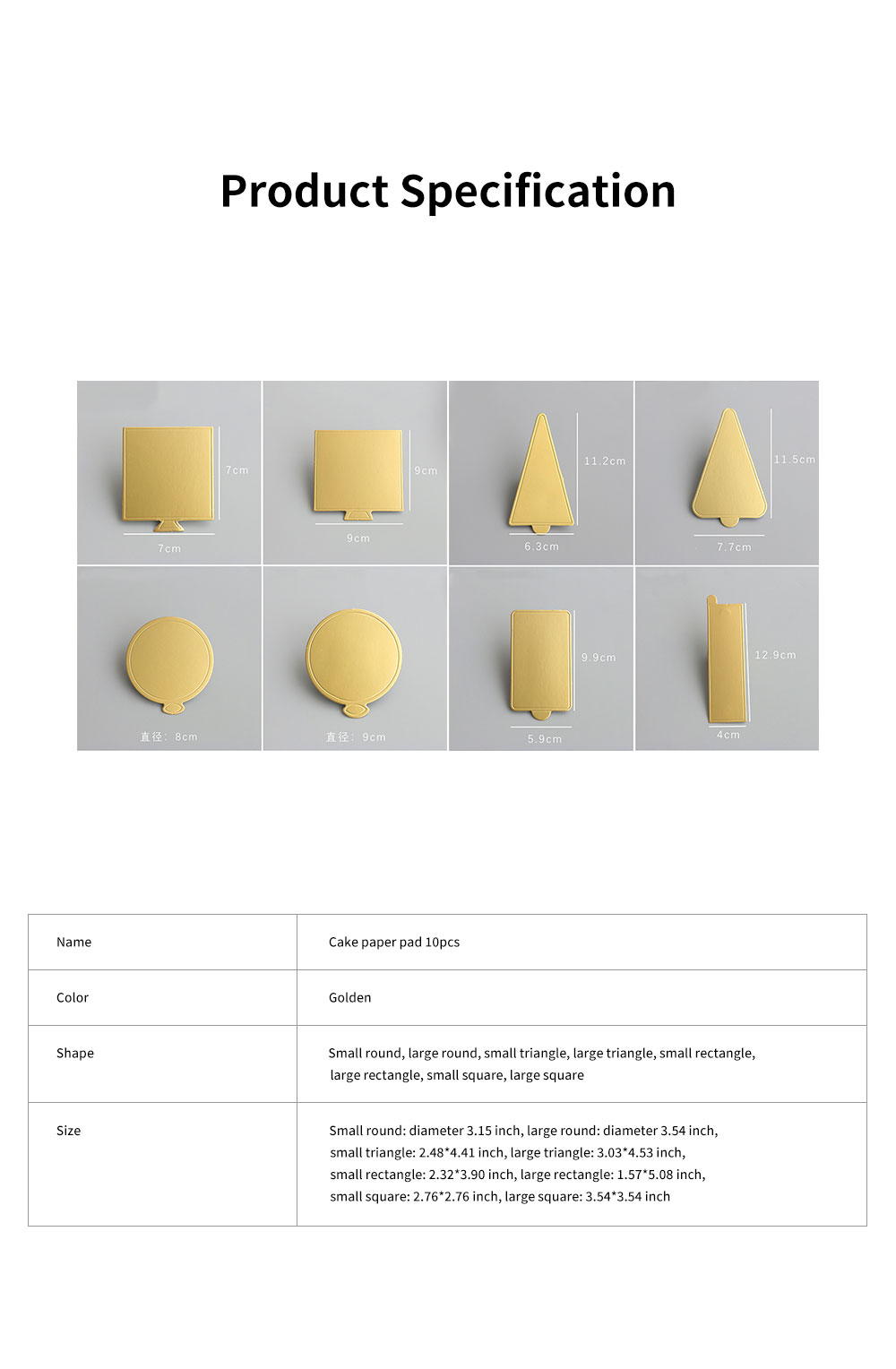 Delicate Golden Waterproof Non-toxic Mousse Cake Paper Pad Dessert Baking Accessories Round Square Triangle Rectangle 10PCS 6