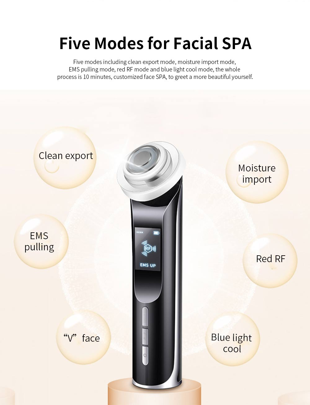 Facial Cleansing Machine Electric Facial Pore Cleaner for Face Lifting Deep Cleaning Wrinkle Remover Skin Tighten 5