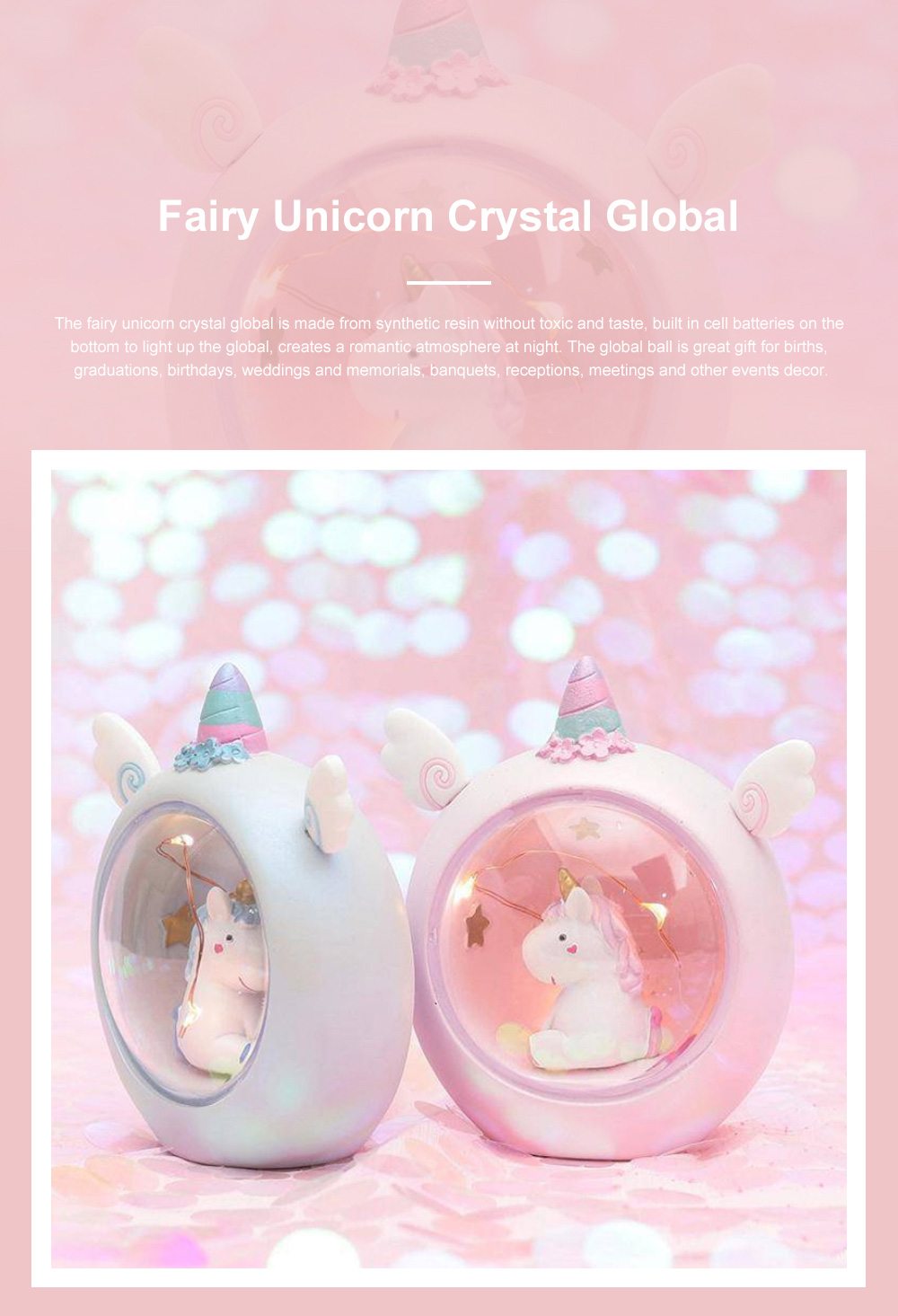 Fairy Unicorn Snow Globe Night Light for Kids Girls Granddaughters Babies Birthday Gift Pretty Creative LED Unicorn Crystal Ball Lamp 0