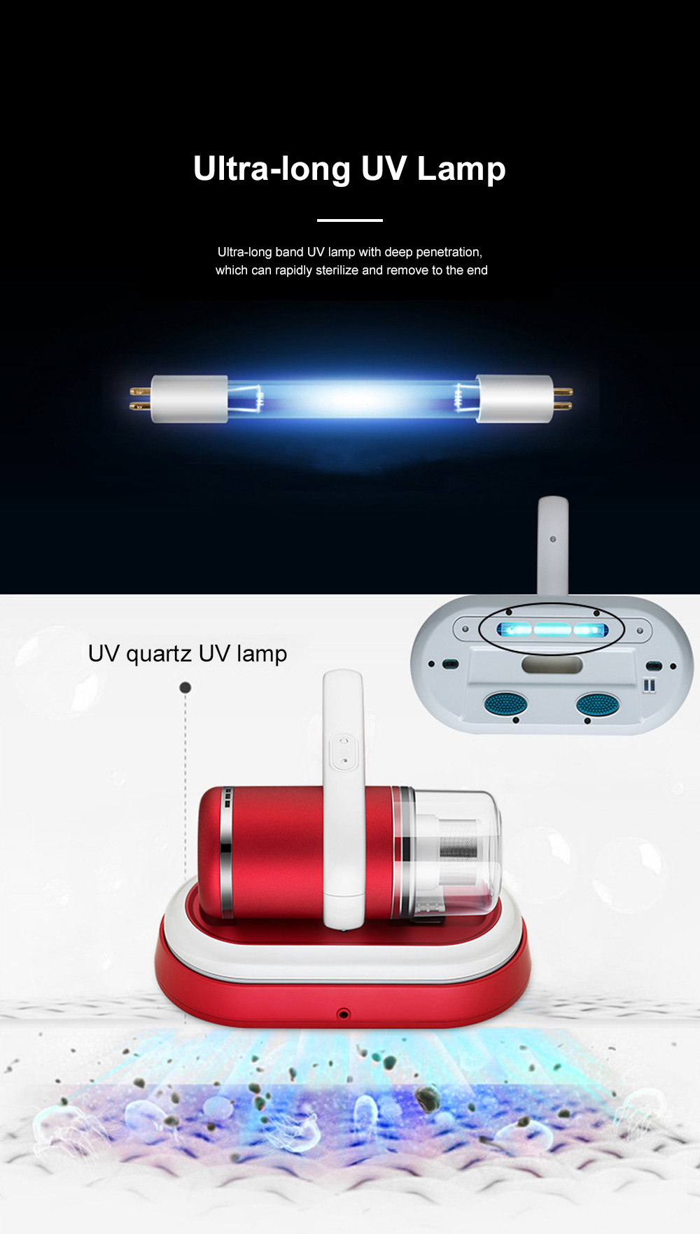 Home Use Wireless Mite Remover Handheld UV Sterilization Cleaner for Bed Bedroom Sofa Clothes Anti Dust Mite Device 3