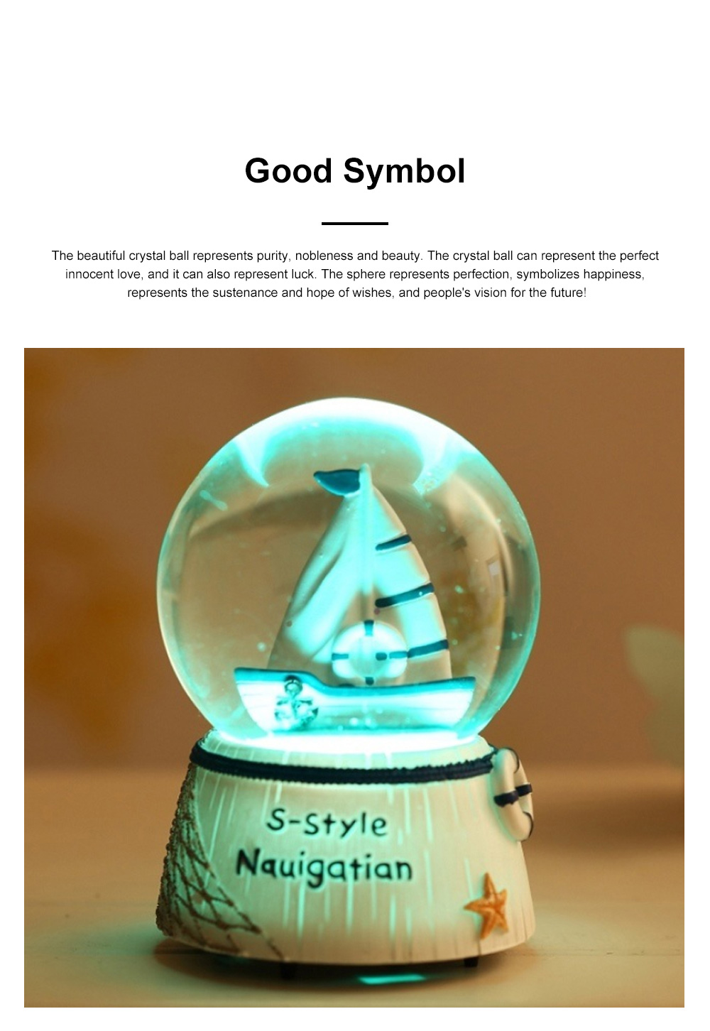 Mini Sailing Lighthouse Crystal Ball LED Base 3D Crystal Ball Night Light with Stand 5 Colors Change for Kids Baby Bedroom Decor Birthday Gift Snow Global Musical Box 3