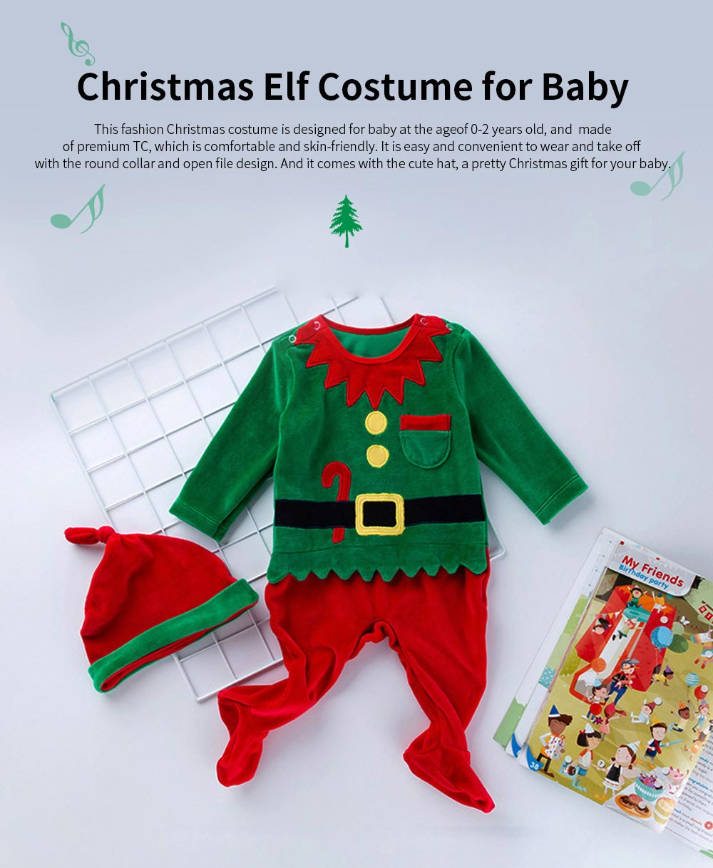 Christmas Elf Costume Green One-Piece Unisex Costume for 0-2 Baby with Long Sleeves and Cute Hat 2pcs 0