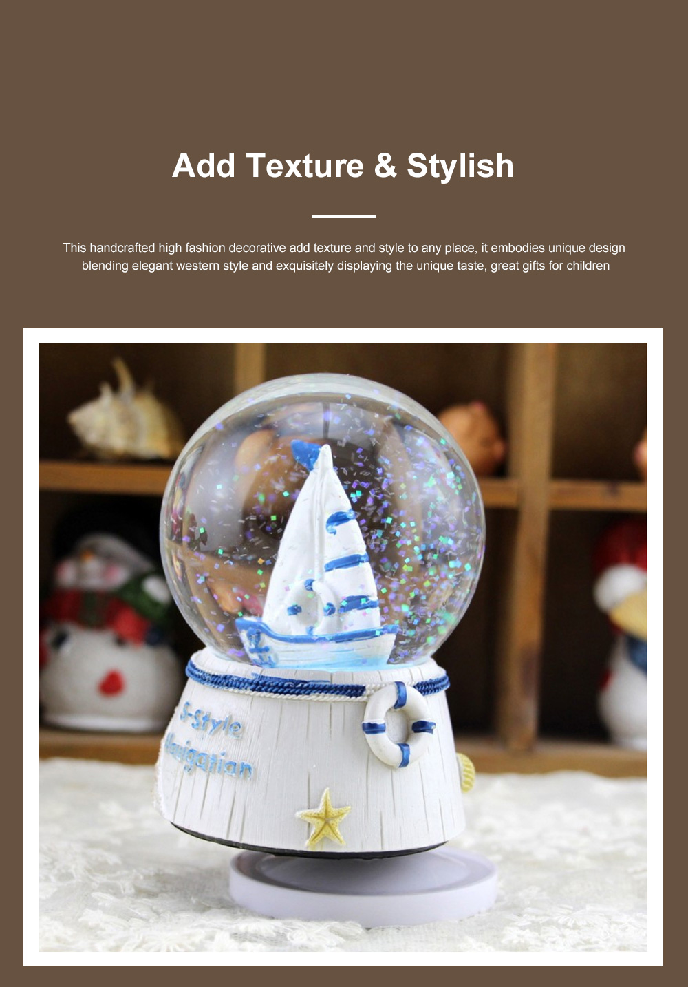 Mini Sailing Lighthouse Crystal Ball LED Base 3D Crystal Ball Night Light with Stand 5 Colors Change for Kids Baby Bedroom Decor Birthday Gift Snow Global Musical Box 2