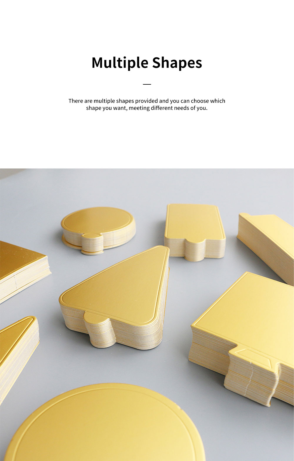 Delicate Golden Waterproof Non-toxic Mousse Cake Paper Pad Dessert Baking Accessories Round Square Triangle Rectangle 10PCS 3