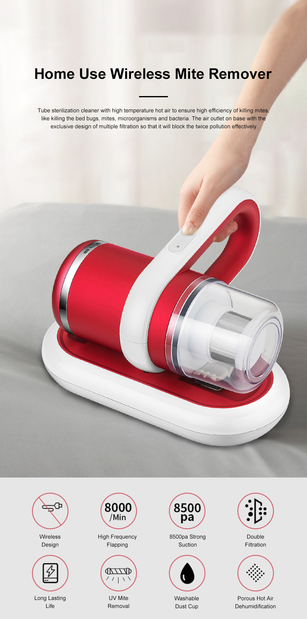 Home Use Wireless Mite Remover Handheld UV Sterilization Cleaner for Bed Bedroom Sofa Clothes Anti Dust Mite Device 0