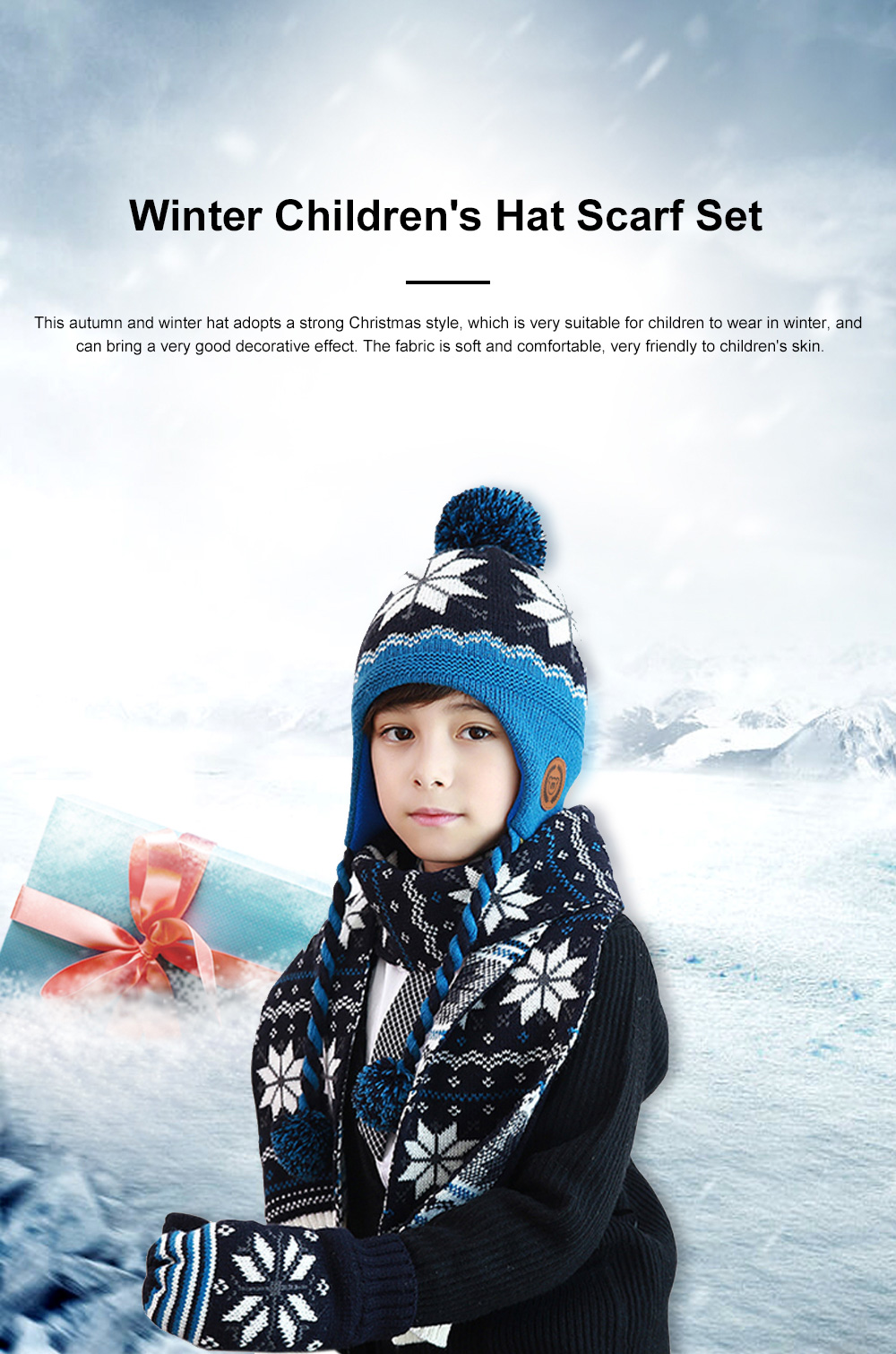 New Children's Hat Warm and Plush Hat for Boys and Girls Snow Flake Decorated Christmas Style Autumn Winter Hat 0