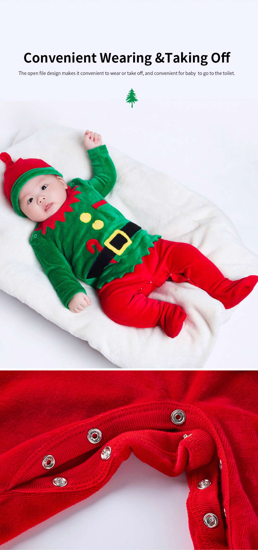 Christmas Elf Costume Green One-Piece Unisex Costume for 0-2 Baby with Long Sleeves and Cute Hat 2pcs 4