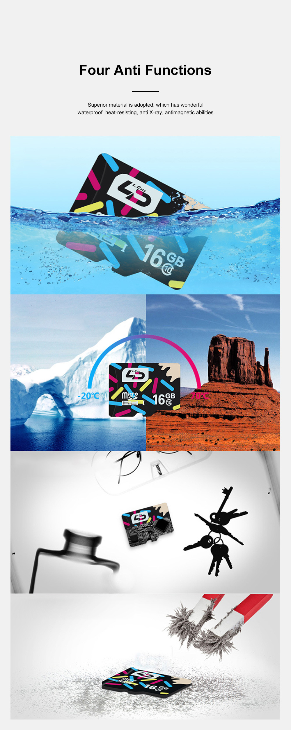 Waterproof Fast-Speed Micro SD Card Mobile Phone Tablet Computer Automobile Data Recorder Memory Card 4