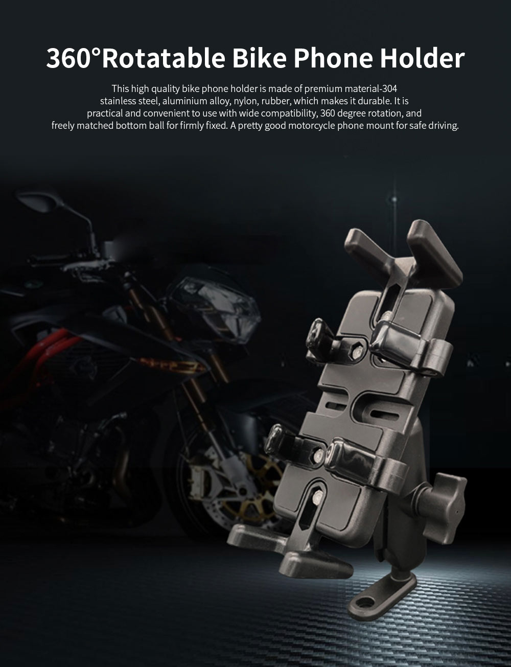 Motorcycle Phone Mount Black Handlebar Phone Holder Anti-Shake and 360°Rotatable Bike Phone Holder 0