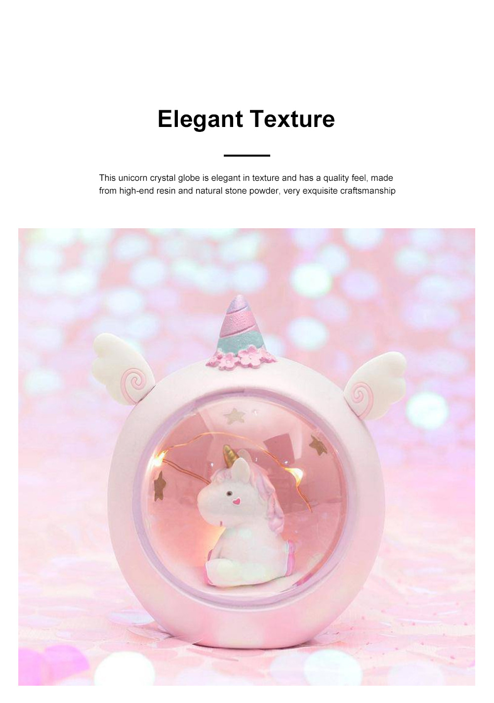 Fairy Unicorn Snow Globe Night Light for Kids Girls Granddaughters Babies Birthday Gift Pretty Creative LED Unicorn Crystal Ball Lamp 1