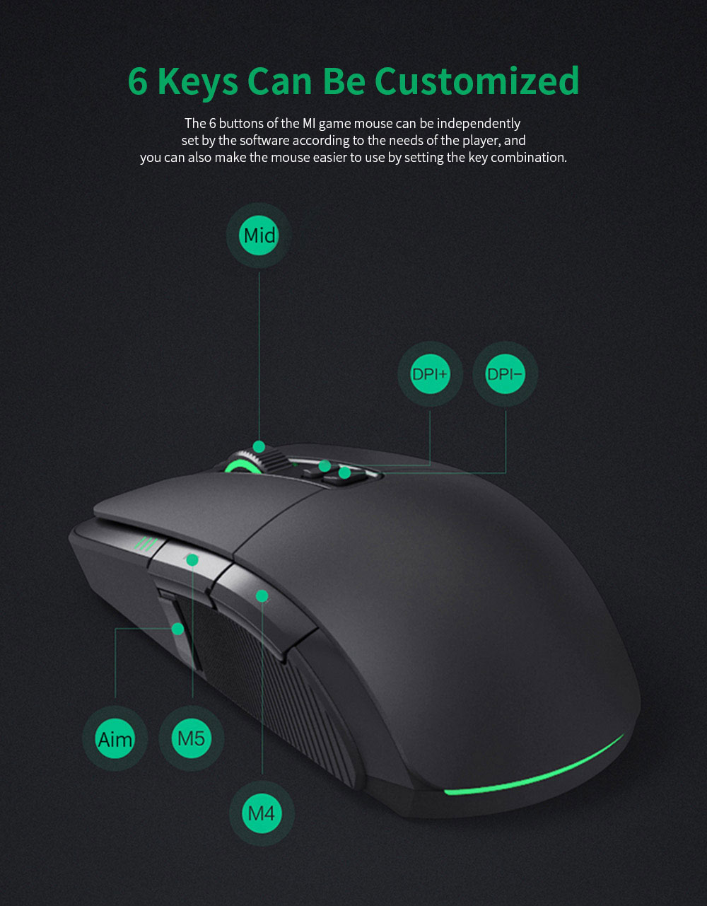 Xiaomi Gaming Mouse 7200DPI Wired Wireless Dual Mode Computer Mouse with Ergonomics Design and RGB Colorful Lights 5
