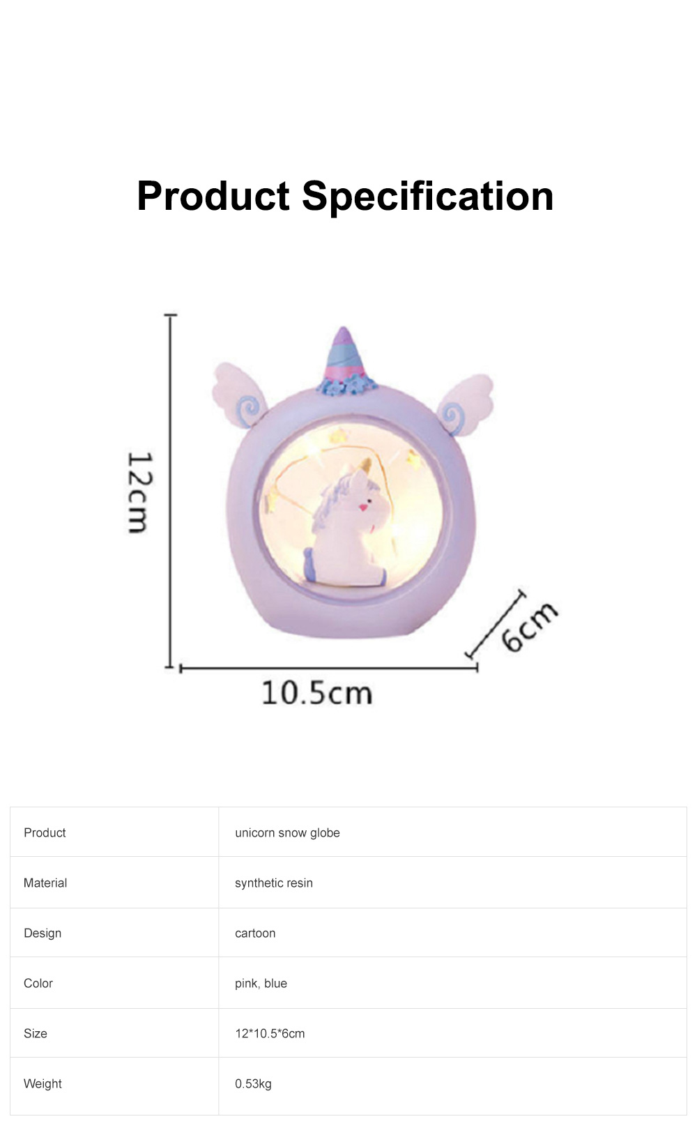 Fairy Unicorn Snow Globe Night Light for Kids Girls Granddaughters Babies Birthday Gift Pretty Creative LED Unicorn Crystal Ball Lamp 6