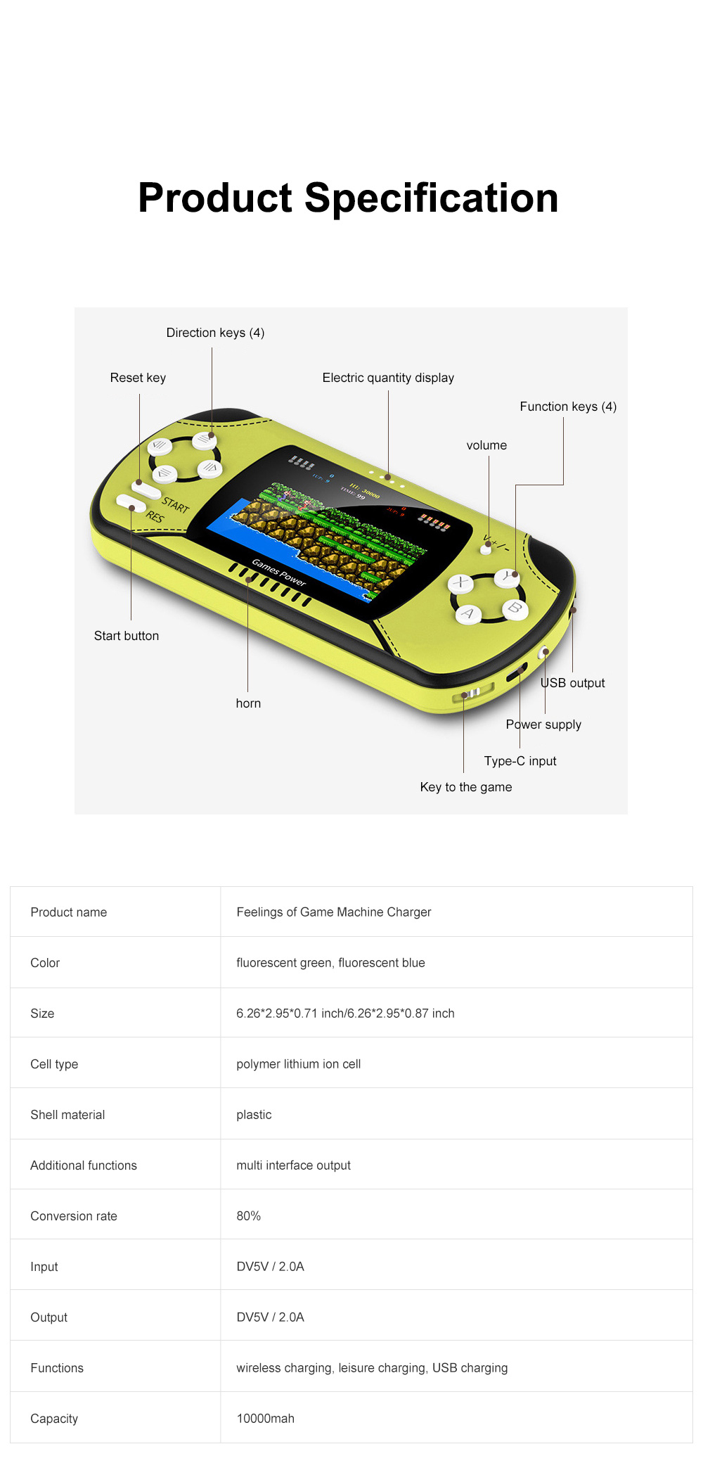 Dual Use Retro Game Machine Charger Palm Nostalgic Game Machine Portable Large Capacity Wireless Mobile Power Charger 8