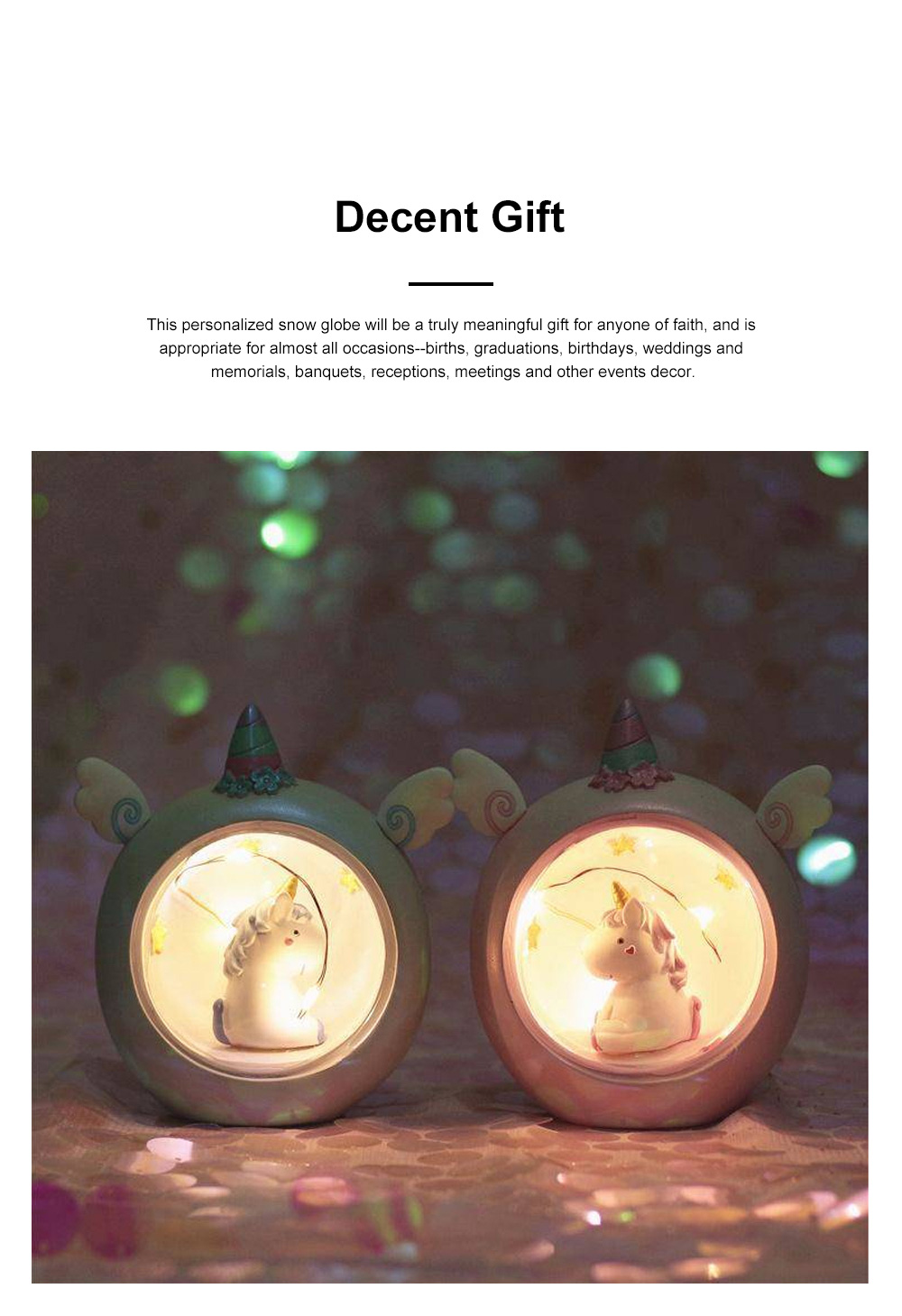 Fairy Unicorn Snow Globe Night Light for Kids Girls Granddaughters Babies Birthday Gift Pretty Creative LED Unicorn Crystal Ball Lamp 3