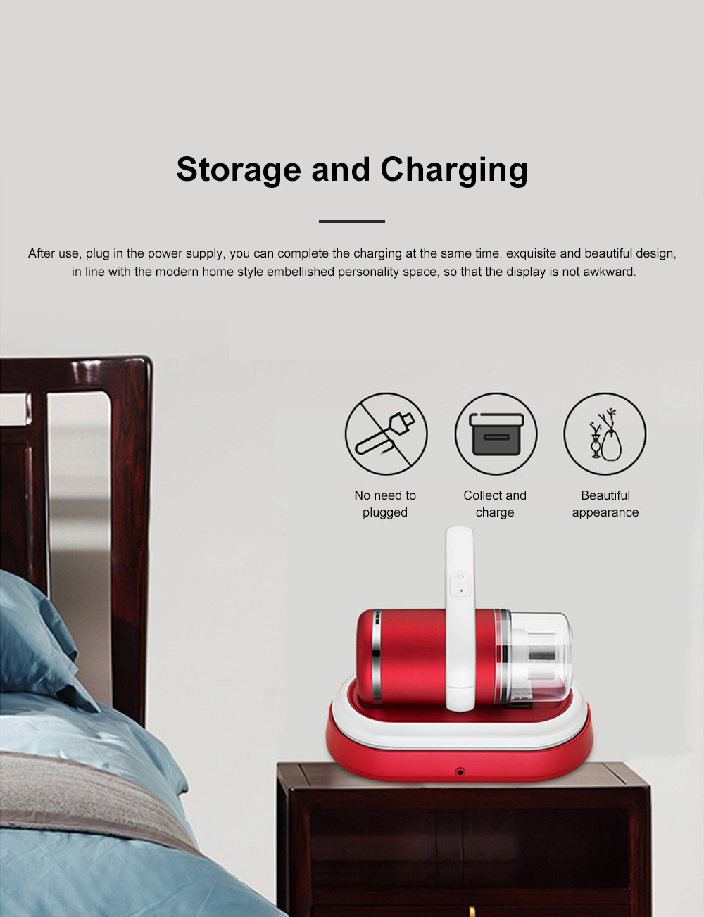 Home Use Wireless Mite Remover Handheld UV Sterilization Cleaner for Bed Bedroom Sofa Clothes Anti Dust Mite Device 7