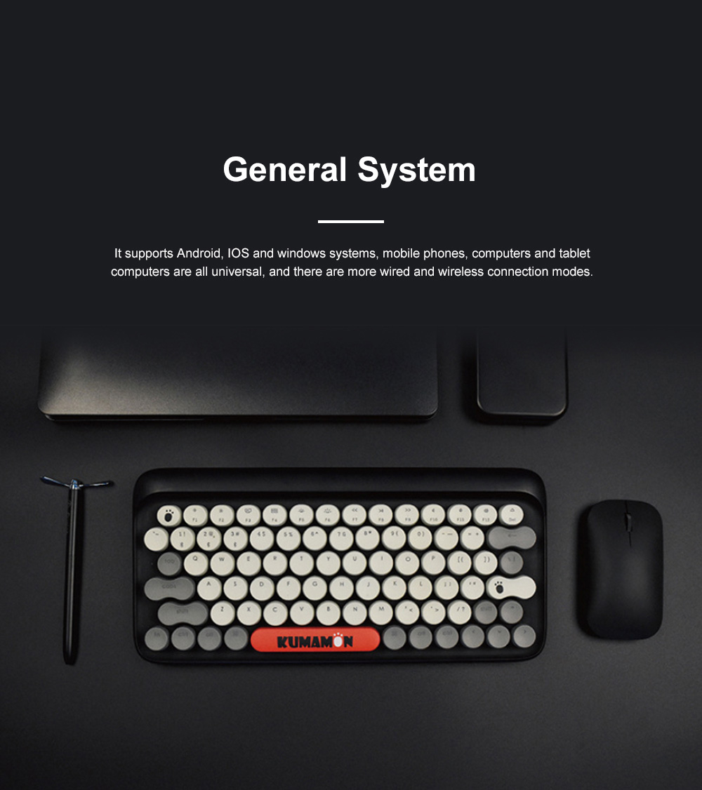 LOFREE Kumamon Dot Bluetooth Mechanical Keyboard Laptop Tablet IPAD Wireless Retro Keyboard 4