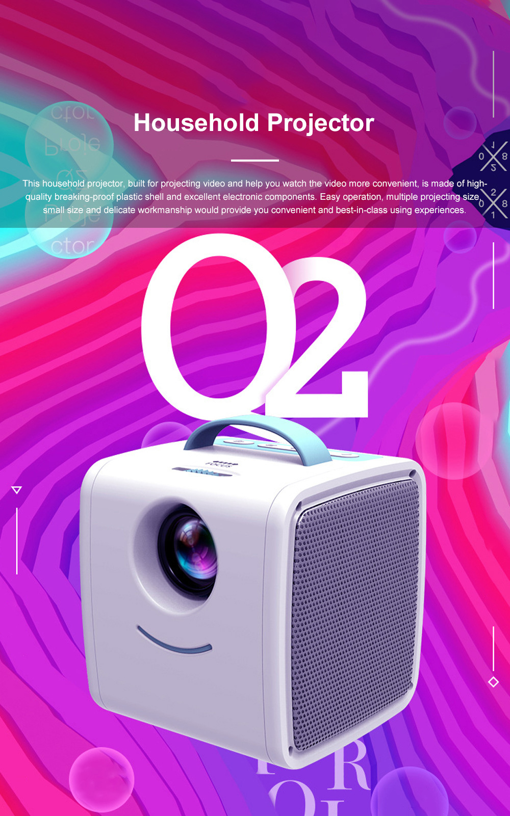 Portable Q2 Mini Household Children High Definition LED Projector Easy Operation Multiple Video Input Modes 0