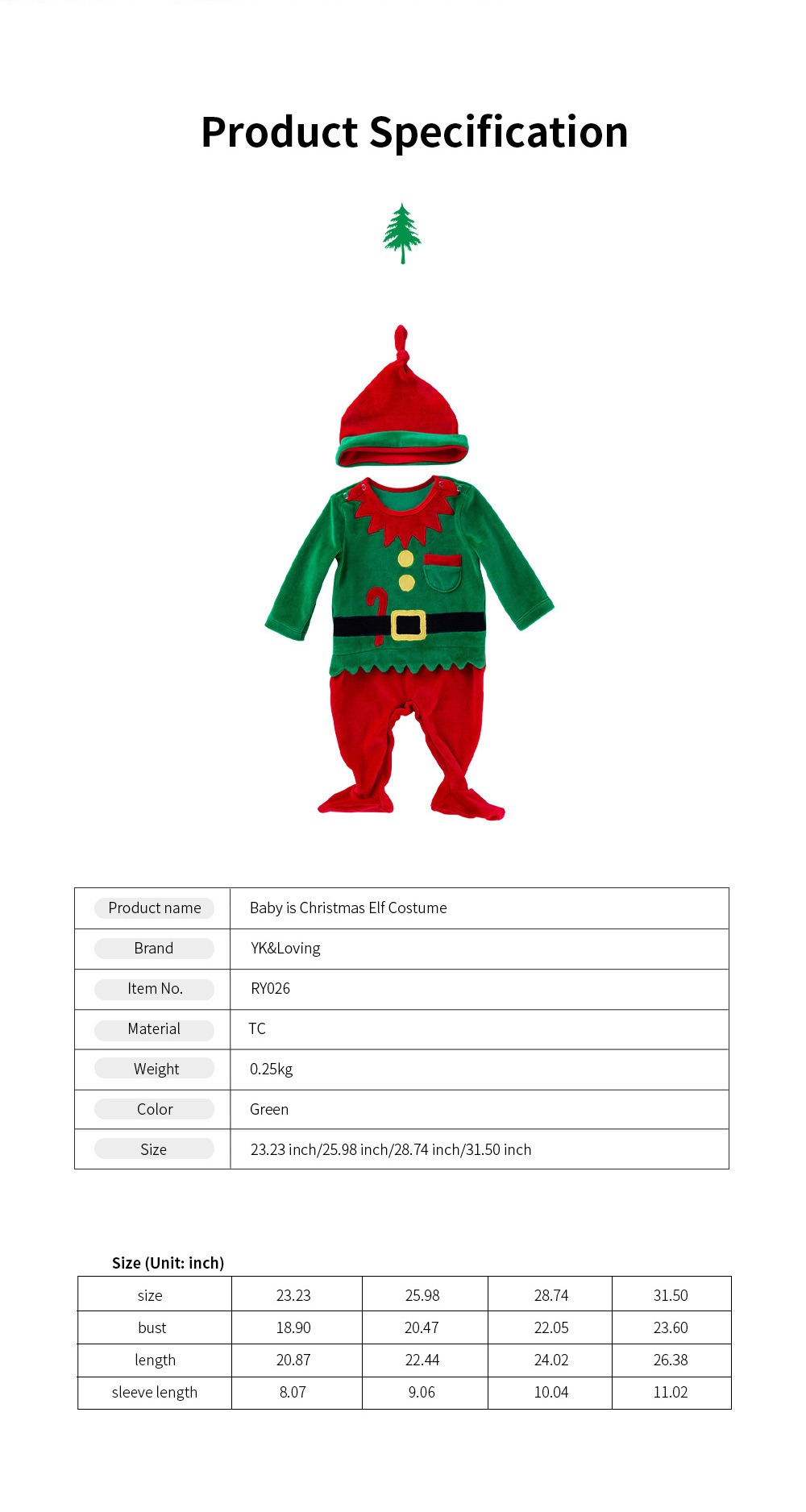 Christmas Elf Costume Green One-Piece Unisex Costume for 0-2 Baby with Long Sleeves and Cute Hat 2pcs 6
