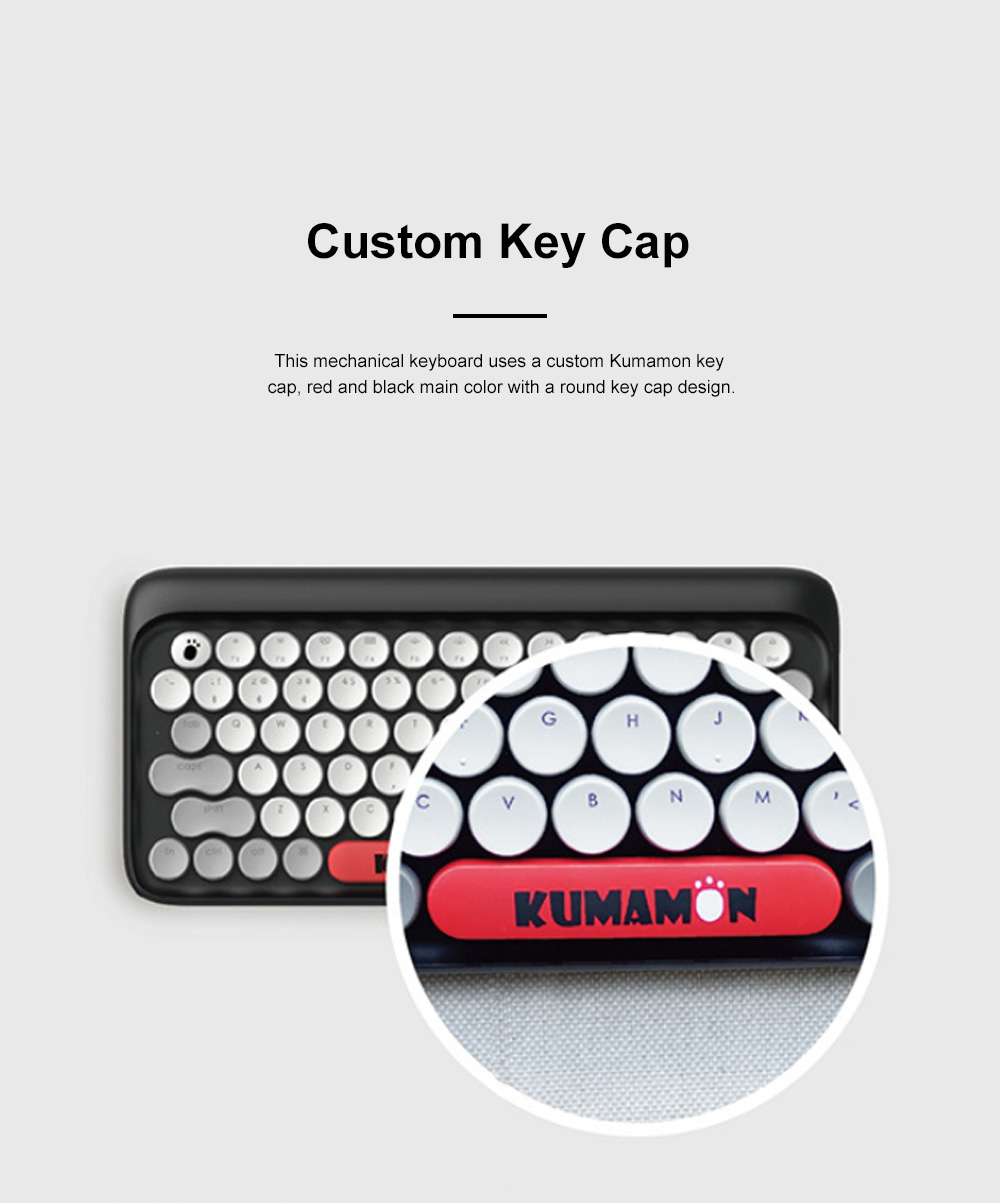 LOFREE Kumamon Dot Bluetooth Mechanical Keyboard Laptop Tablet IPAD Wireless Retro Keyboard 3
