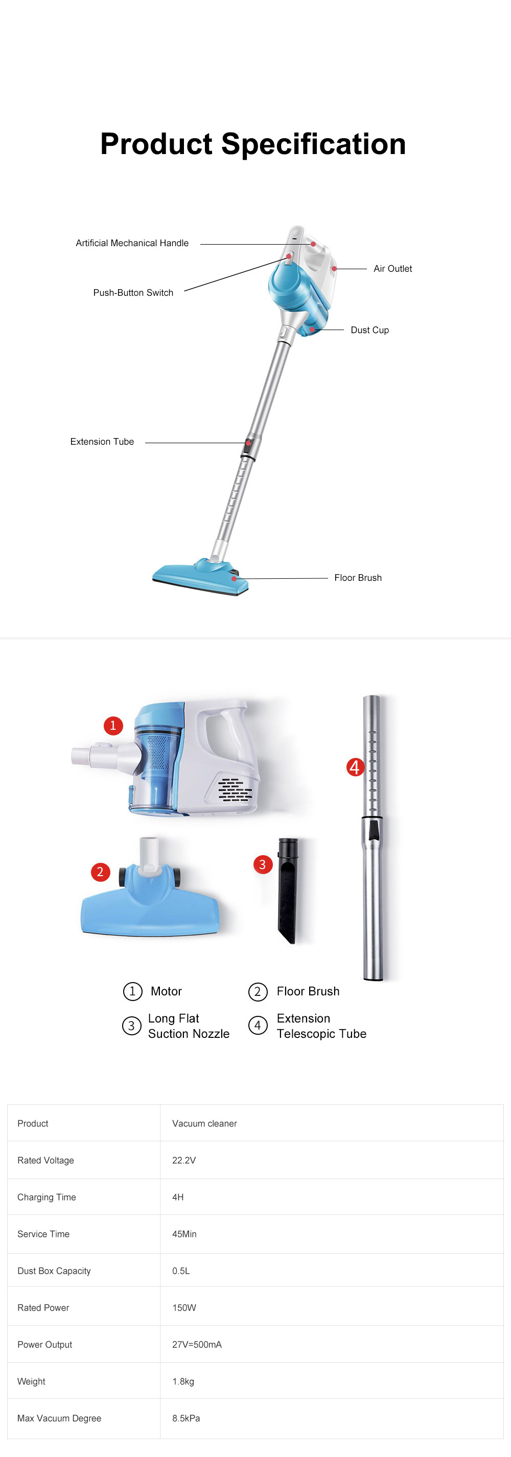 Household Wireless Vacuum Cleaner High Power Charging Push Rod Dual-use Large Suction Hand-held Small Dust Vacuum Cleaner 10