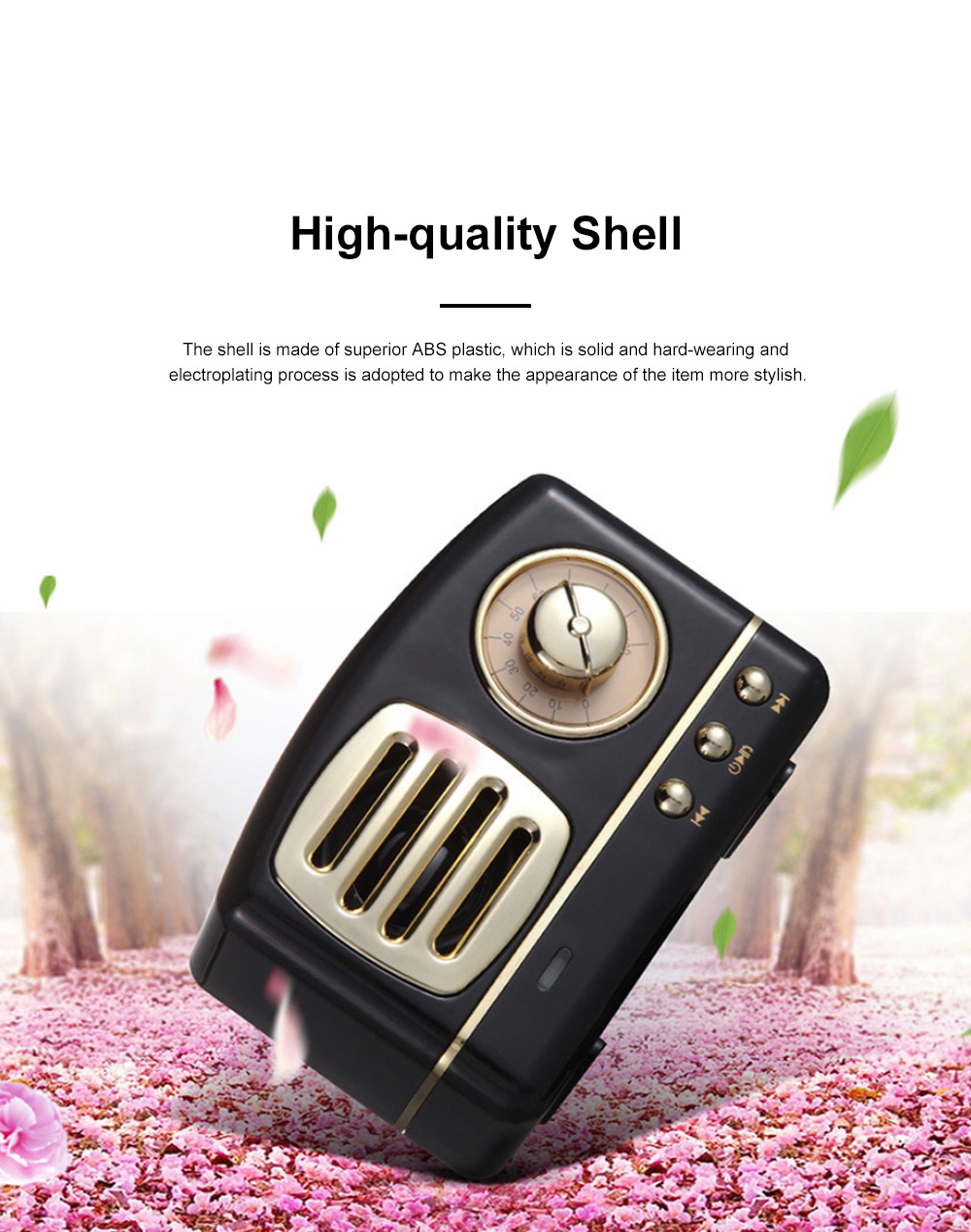Creative Vintage Radio Model Portable Bluetooth Loudspeaker Box Base Large Battery Capacity Sound Box Stereo 5