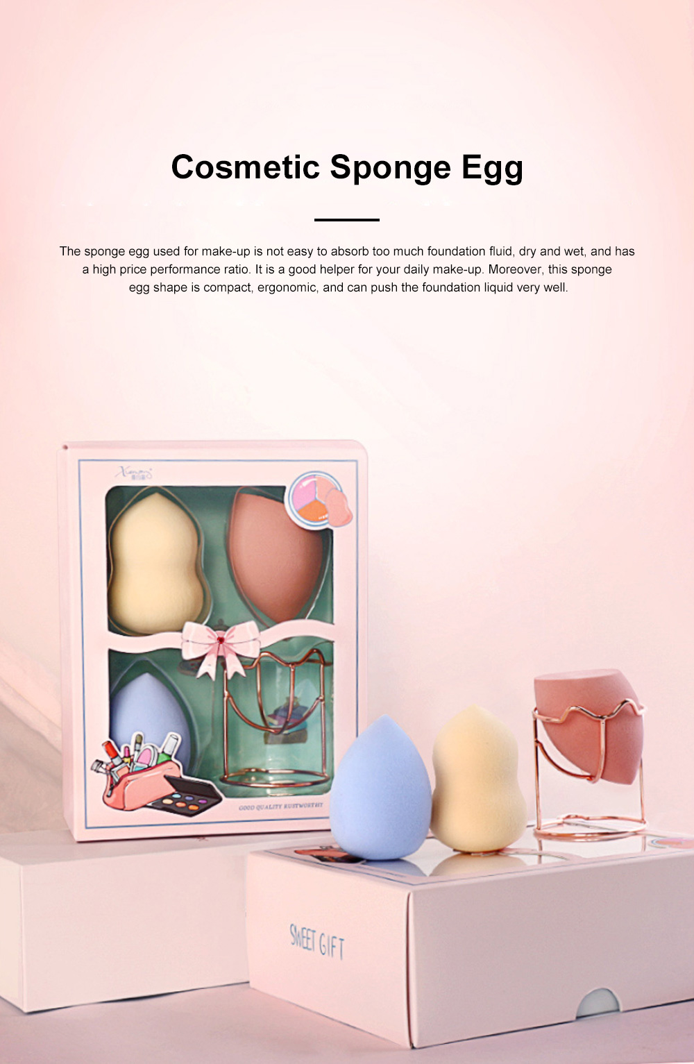 Cosmetic Sponge Egg Dry and Wet Gourd Puff Cosmetic Sponge Egg Cosmetic With Sponge Egg Shelf 3pcs Gift Box 0