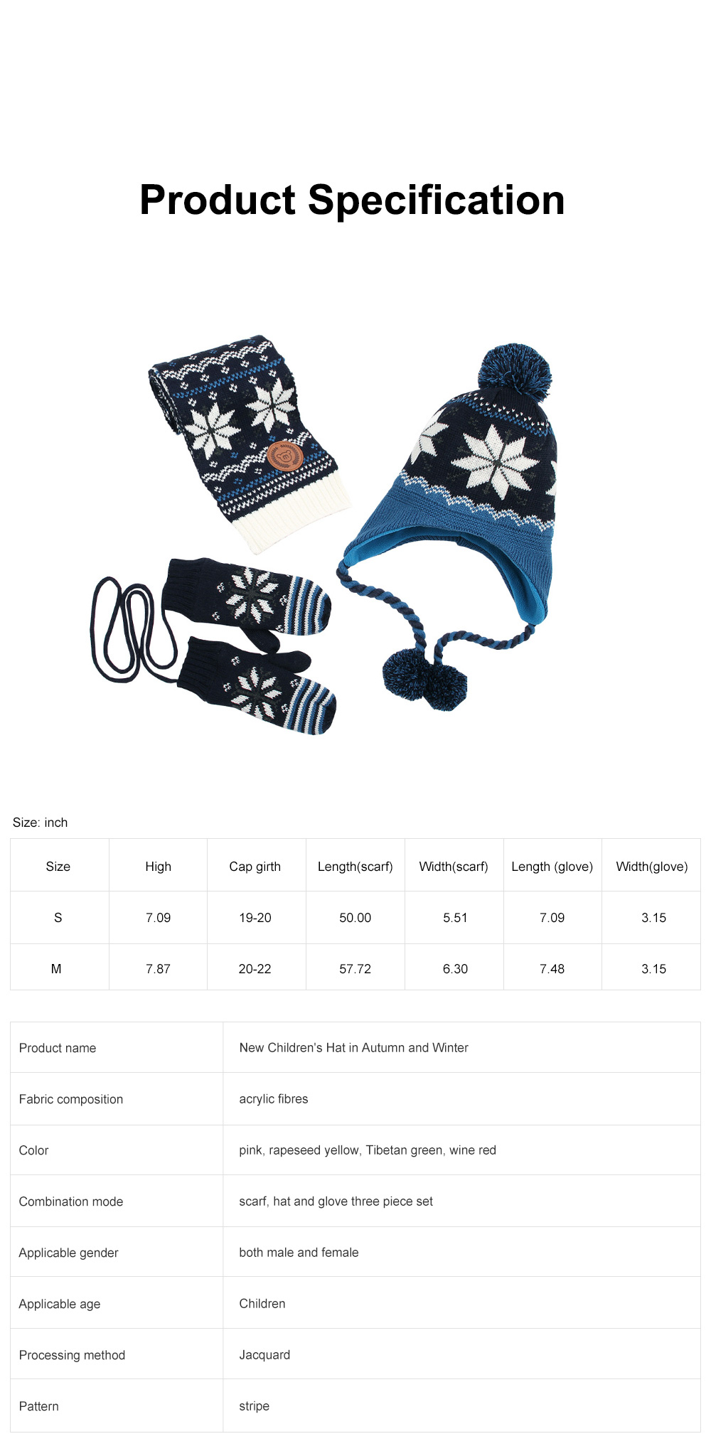 New Children's Hat Warm and Plush Hat for Boys and Girls Snow Flake Decorated Christmas Style Autumn Winter Hat 6